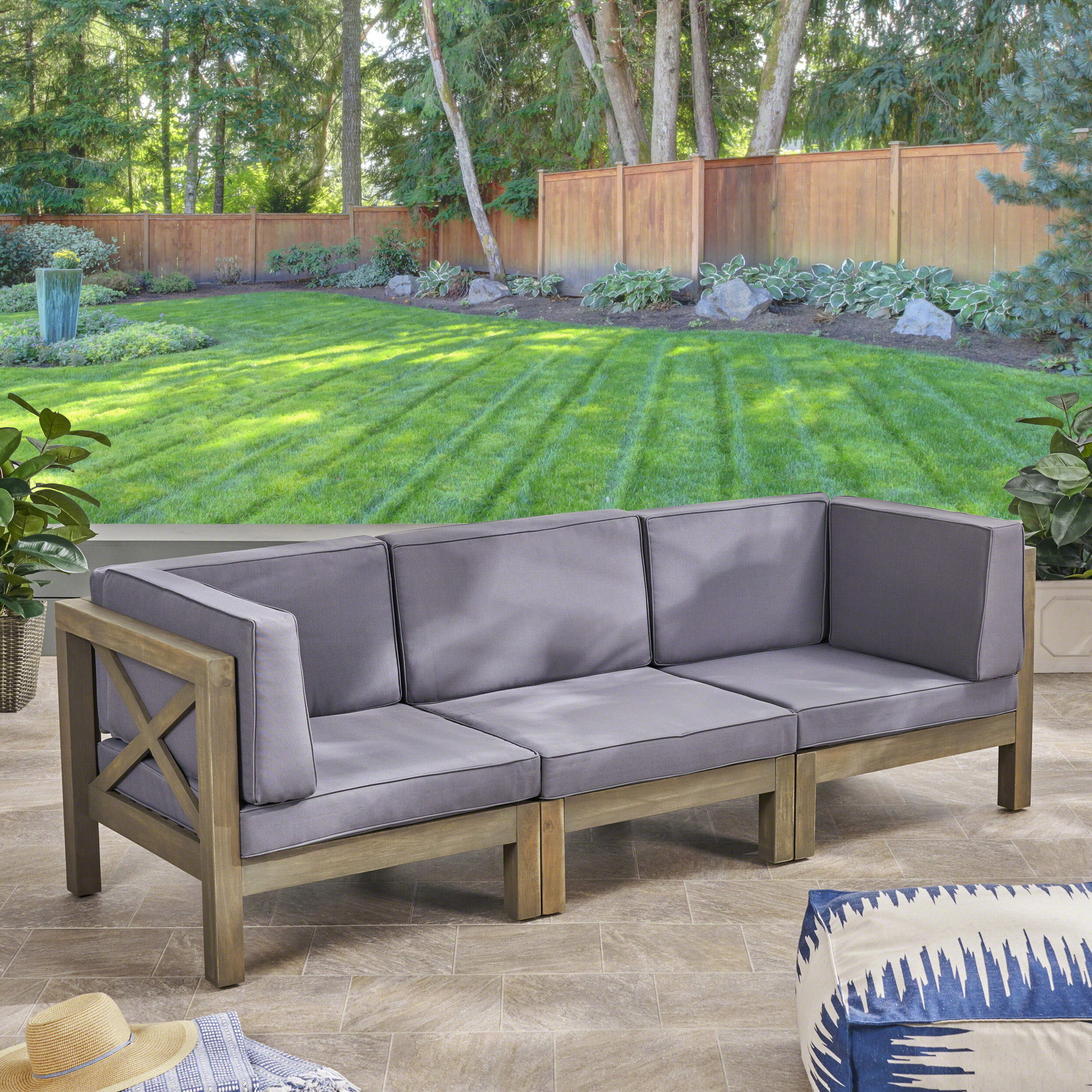 Ellison Patio Sectionals With Cushions For 2019 Ellison Patio Sofa With Cushions (View 5 of 20)