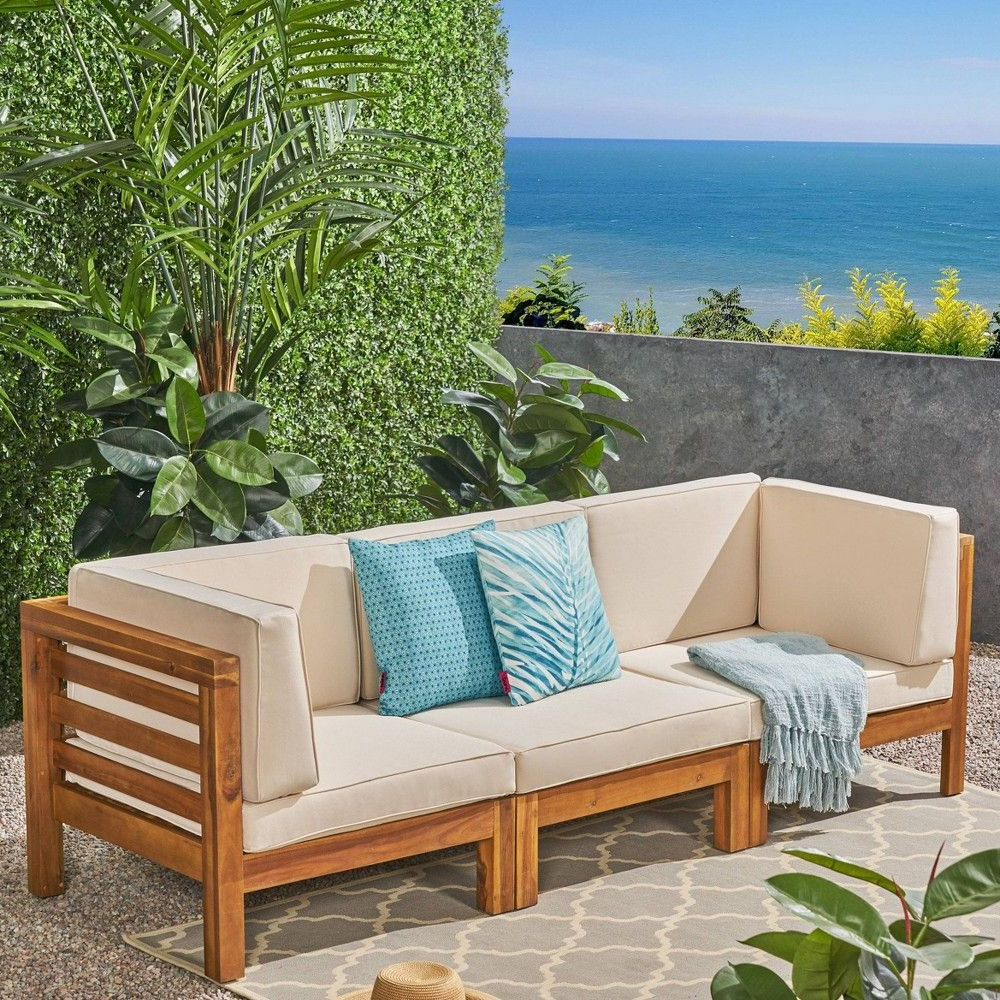 Ellison Patio Sectionals With Cushions Throughout Current Oana 3Pc Acacia Wood Patio Modular Sofa – Teak/beige (View 7 of 20)