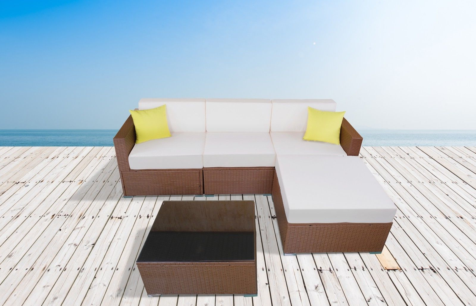 Ellison Patio Sectionals With Cushions With Regard To Latest Mcombo 5Pc Outdoor Rattan Sofa Wicker Chair Patio Furniture With Table  Sectional Set 5 Pc Cream White Pf 6081 5Pc Cw (View 9 of 20)