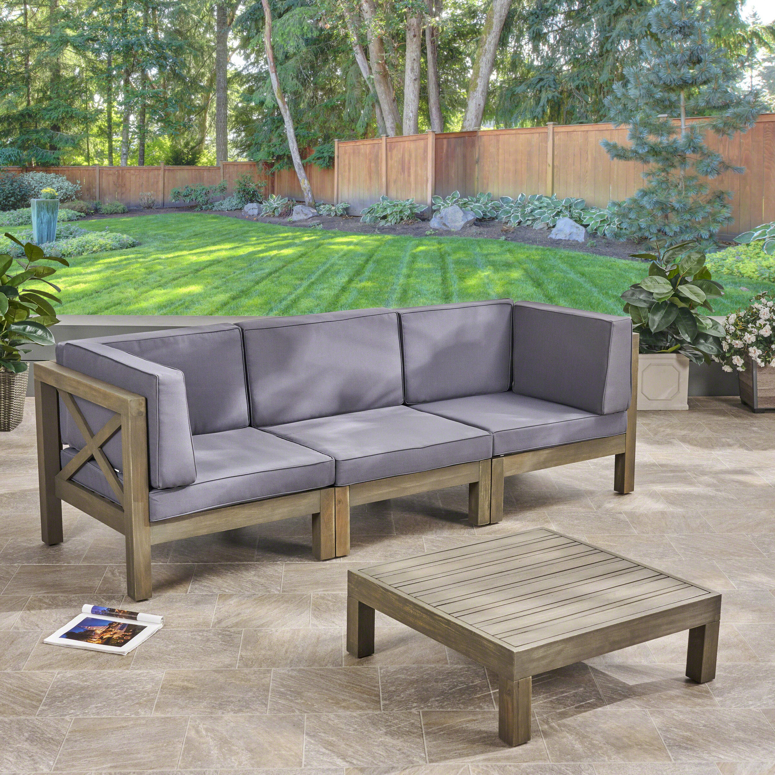 Ellison Patio Sectionals With Cushions With Regard To Well Liked Ellison 4 Piece Sofa Seating Group With Cushions (View 10 of 20)