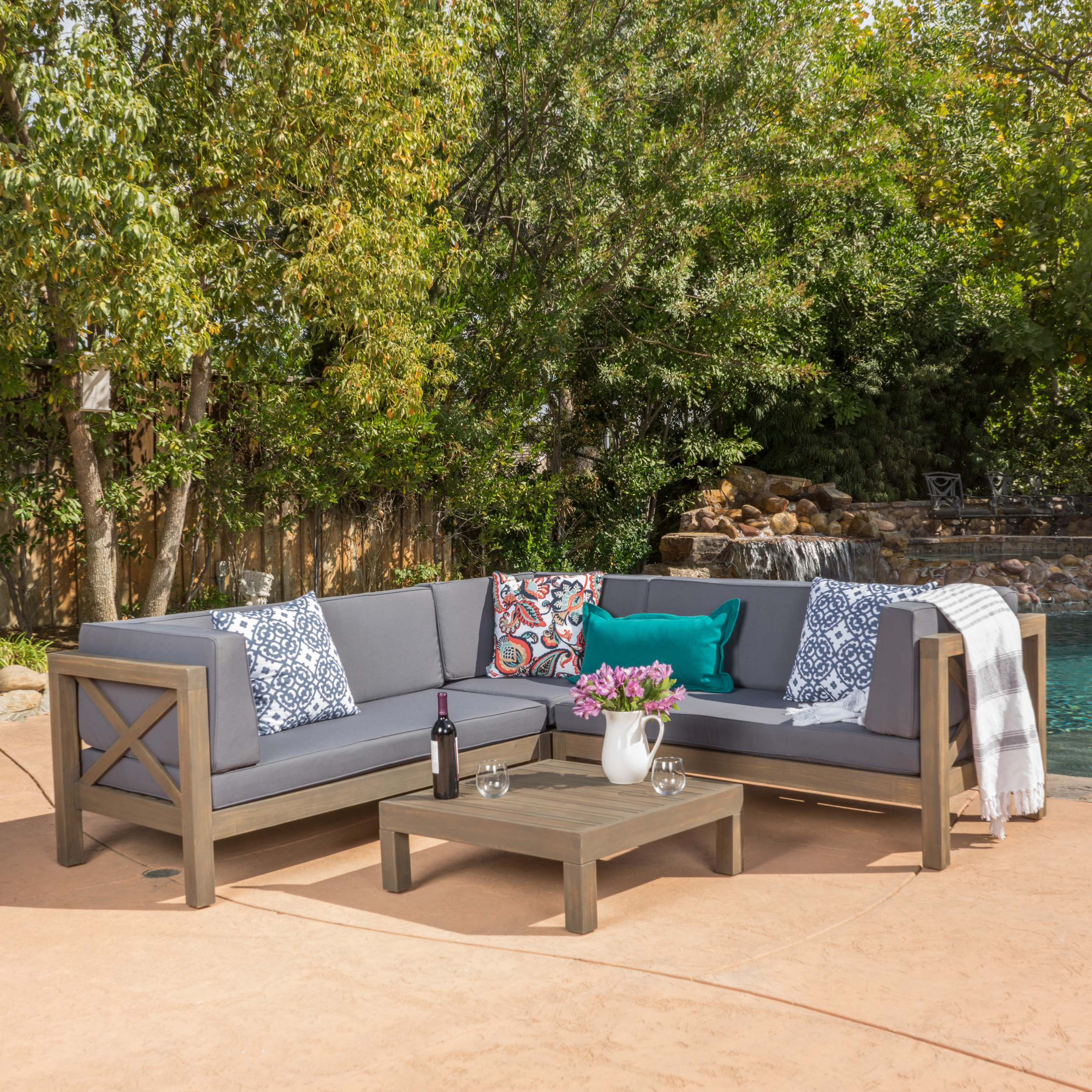 Ellison Patio Sectionals With Cushions Within Fashionable Ellison 4 Piece Sectional Seating Sofa Set With Cushions (View 11 of 20)
