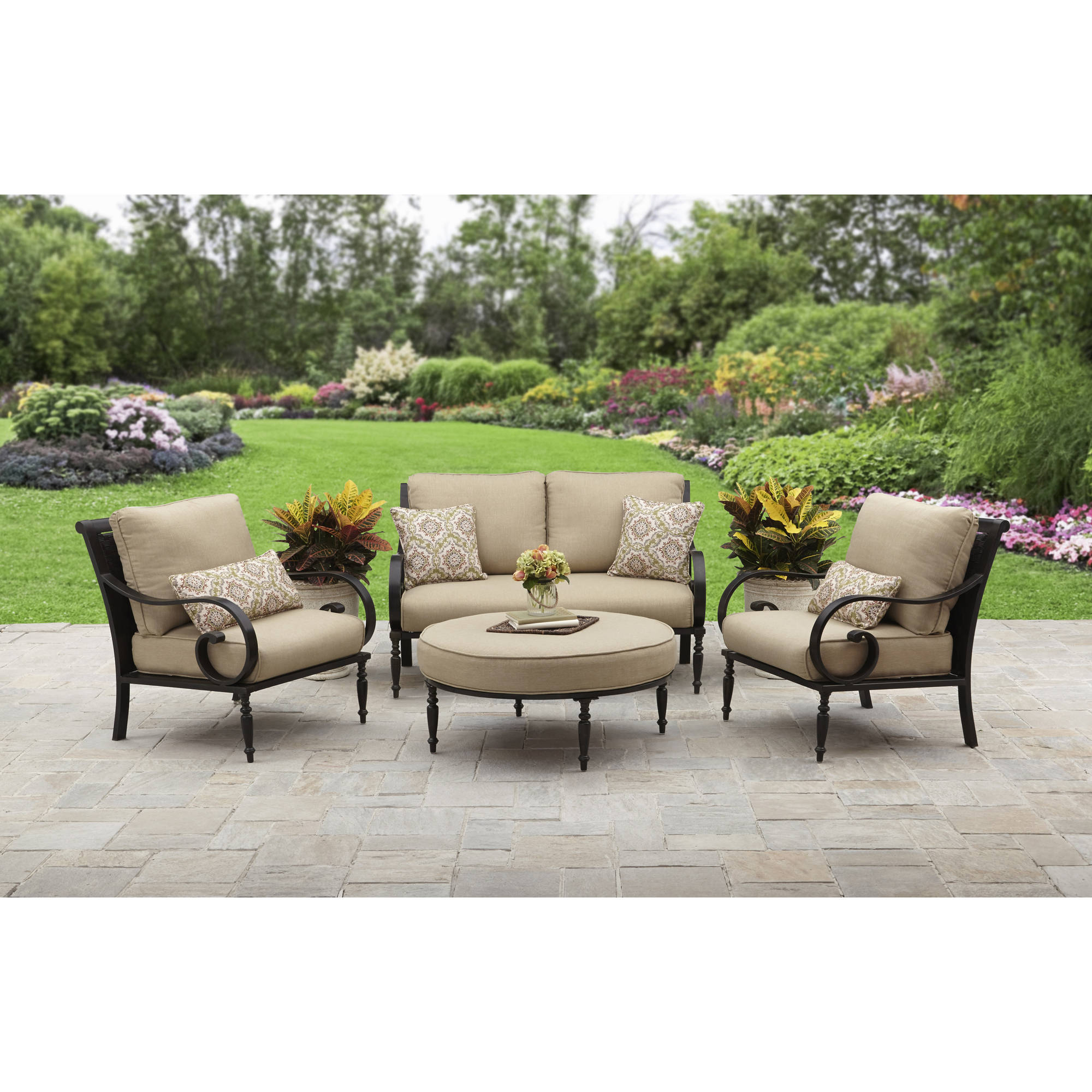 Englewood Loveseats With Cushions Intended For 2019 Better Homes And Gardens Englewood Heights Ii Aluminum 4 Piece Outdoor  Patio Conversation Set, Seats  (View 9 of 20)