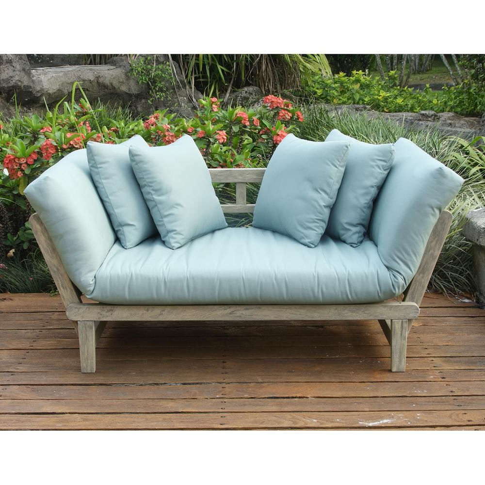 Englewood Loveseats With Cushions Pertaining To Most Up To Date Cambridge Casual Tulle Wood Outdoor Convertible Sofa Daybed (View 14 of 20)