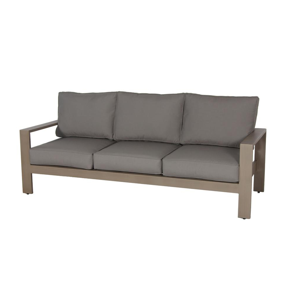 Envelor Aruba Patio Aluminum Outdoor Sofa With Sunbrella Spectrum Grey Cushions In Well Known Vineyard Deep Seating Sofas (View 19 of 20)