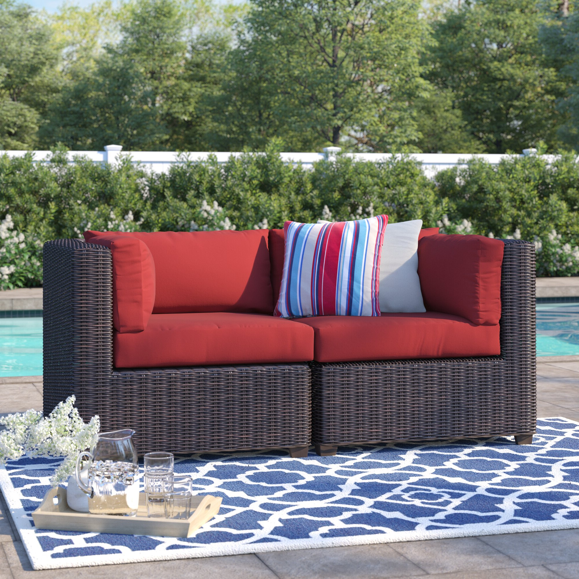 Fairfield Patio Loveseat With Cushions Throughout Most Up To Date Camak Patio Loveseats With Cushions (View 12 of 20)