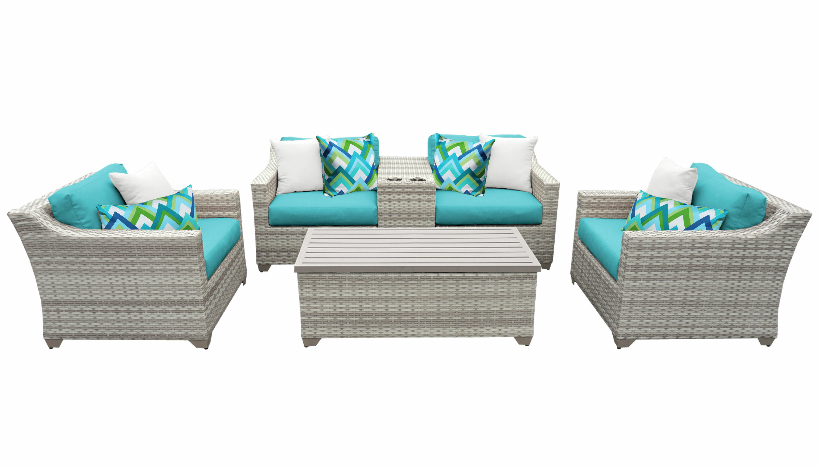 Falmouth 6 Piece Rattan Sectional Seating Group With Cushions With Famous Falmouth Loveseats With Cushions (View 3 of 20)
