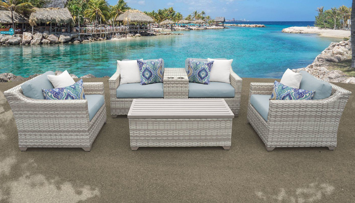 Falmouth 6 Piece Rattan Sectional Seating Group With Inside Current Falmouth Patio Sofas With Cushions (View 7 of 20)
