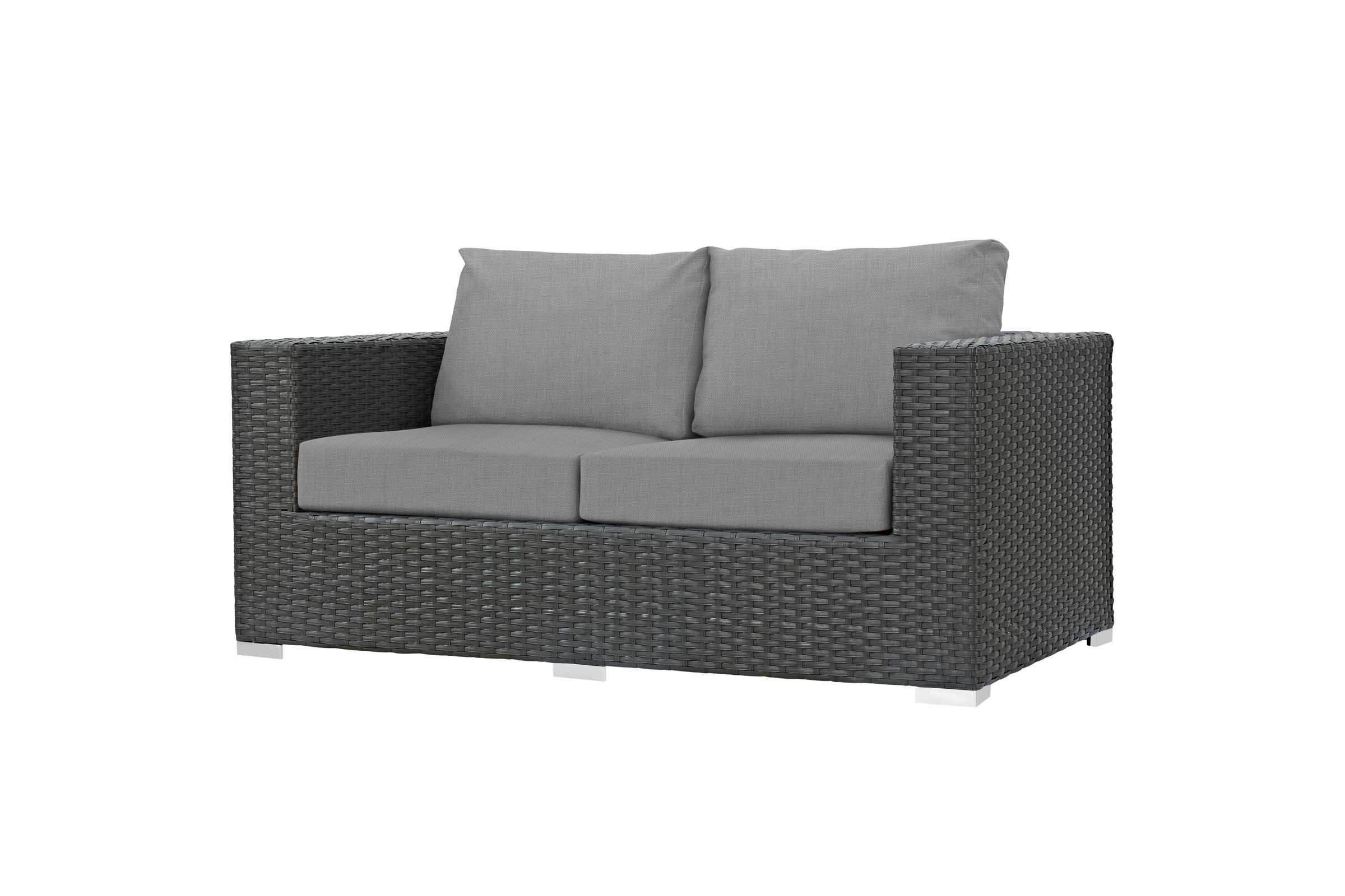 Falmouth Loveseats With Cushions Intended For Well Known Sojourn Outdoor Patio Wicker Rattan Sunbrella¨ Loveseat In (View 8 of 20)