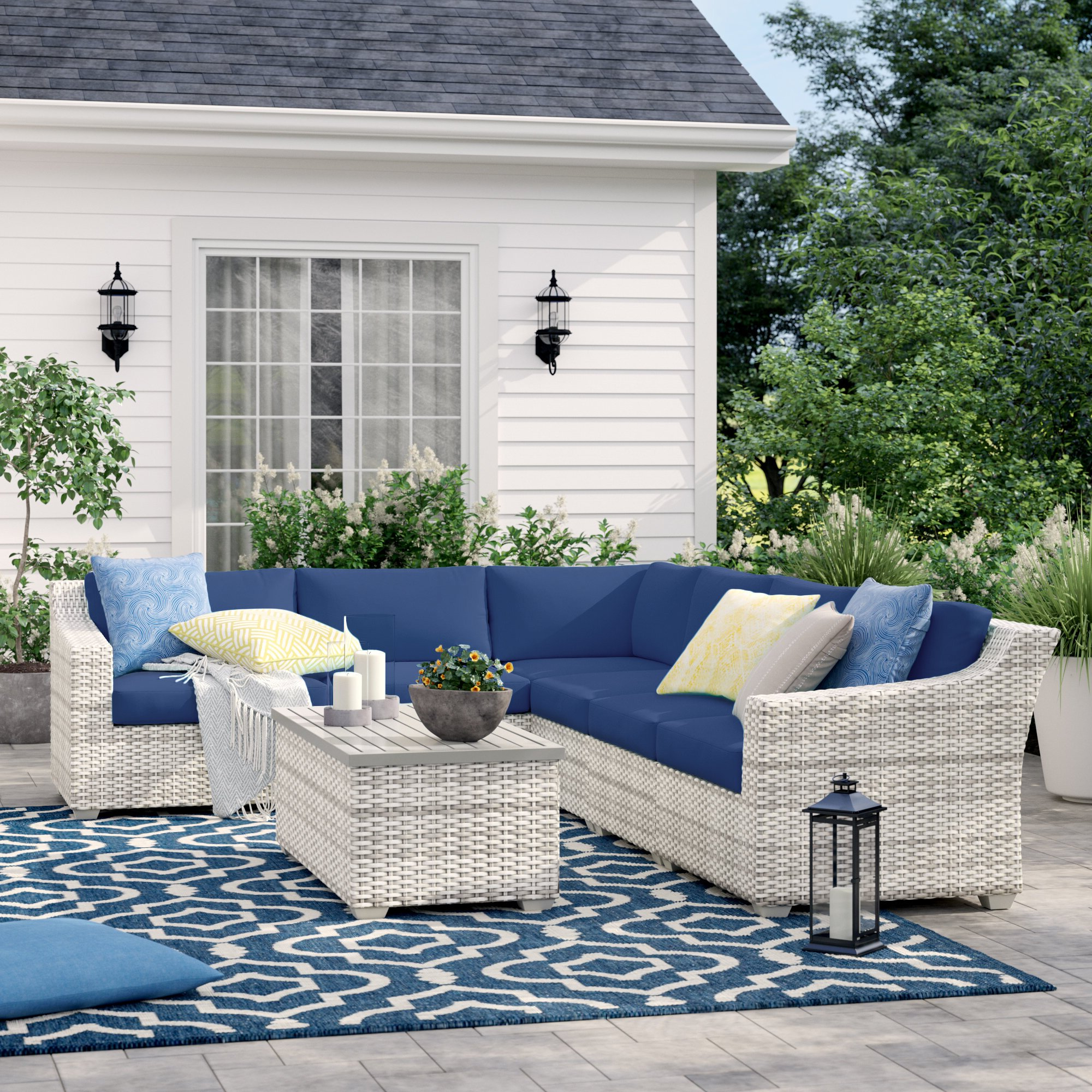 Falmouth Patio Sofas With Cushions Pertaining To Fashionable Falmouth 7 Piece Rattan Sectional Seating Group With Cushions (View 4 of 20)