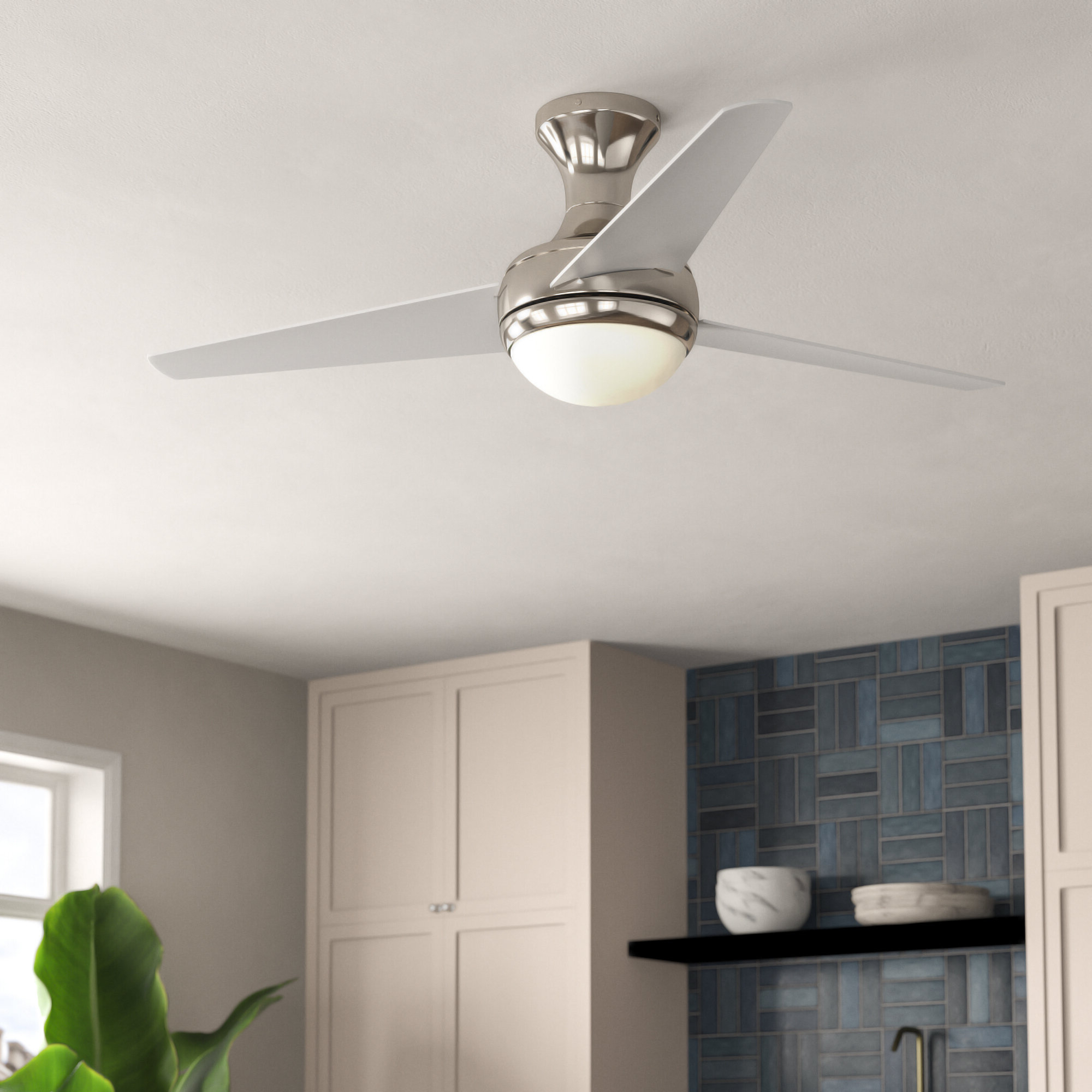"Famous 48"" Bernabe 3 Blade Ceiling Fan With Remote, Light Kit Included Inside Wisp 3 Blade Led Ceiling Fans (View 4 of 20)"