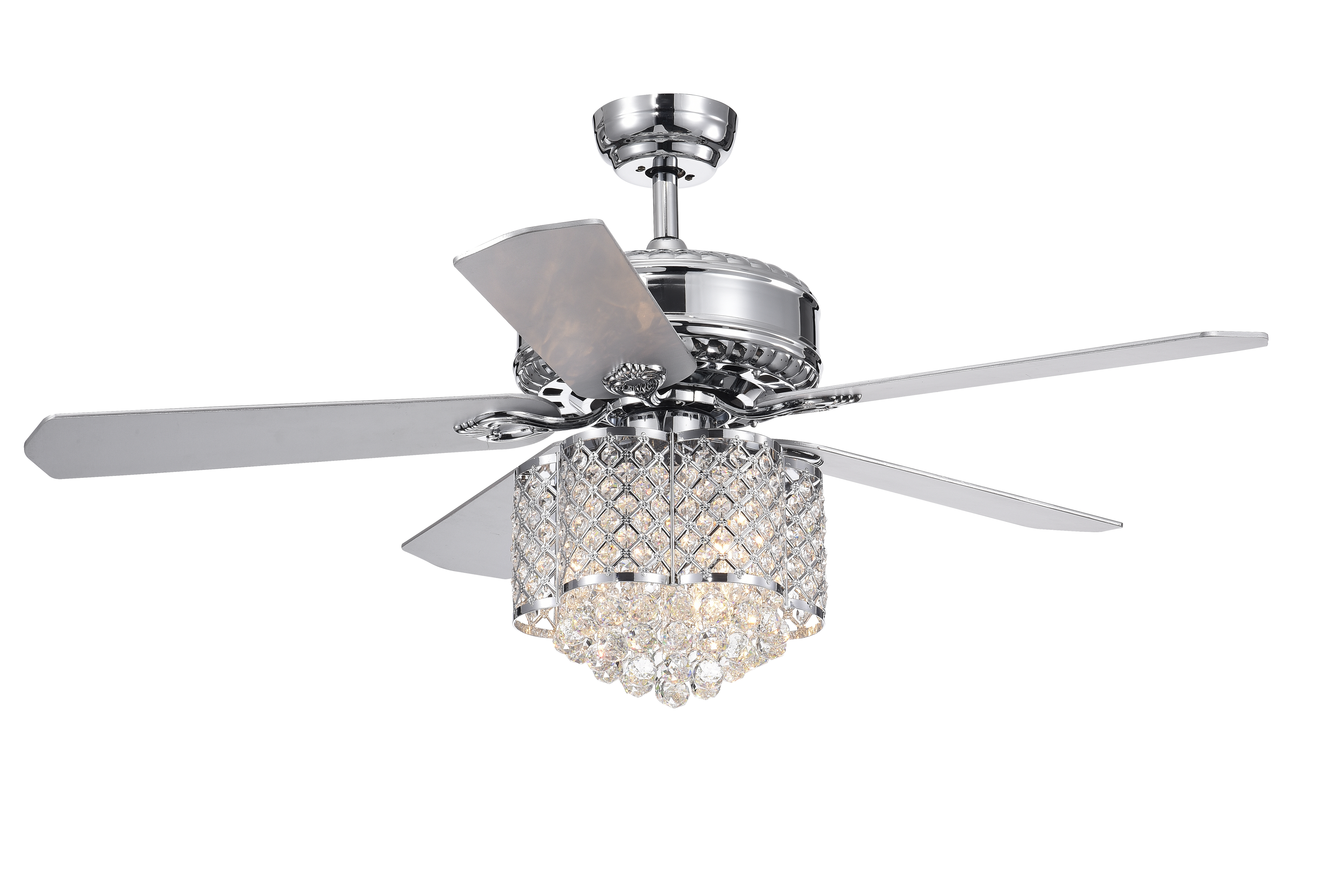 Famous 5 Blade Ceiling Fans With Remote Pertaining To Deidor 5 Blade 52 Inch Chrome Ceiling Fan With 3 Light Crystal Chandelier  (Remote Controlled) (View 12 of 20)