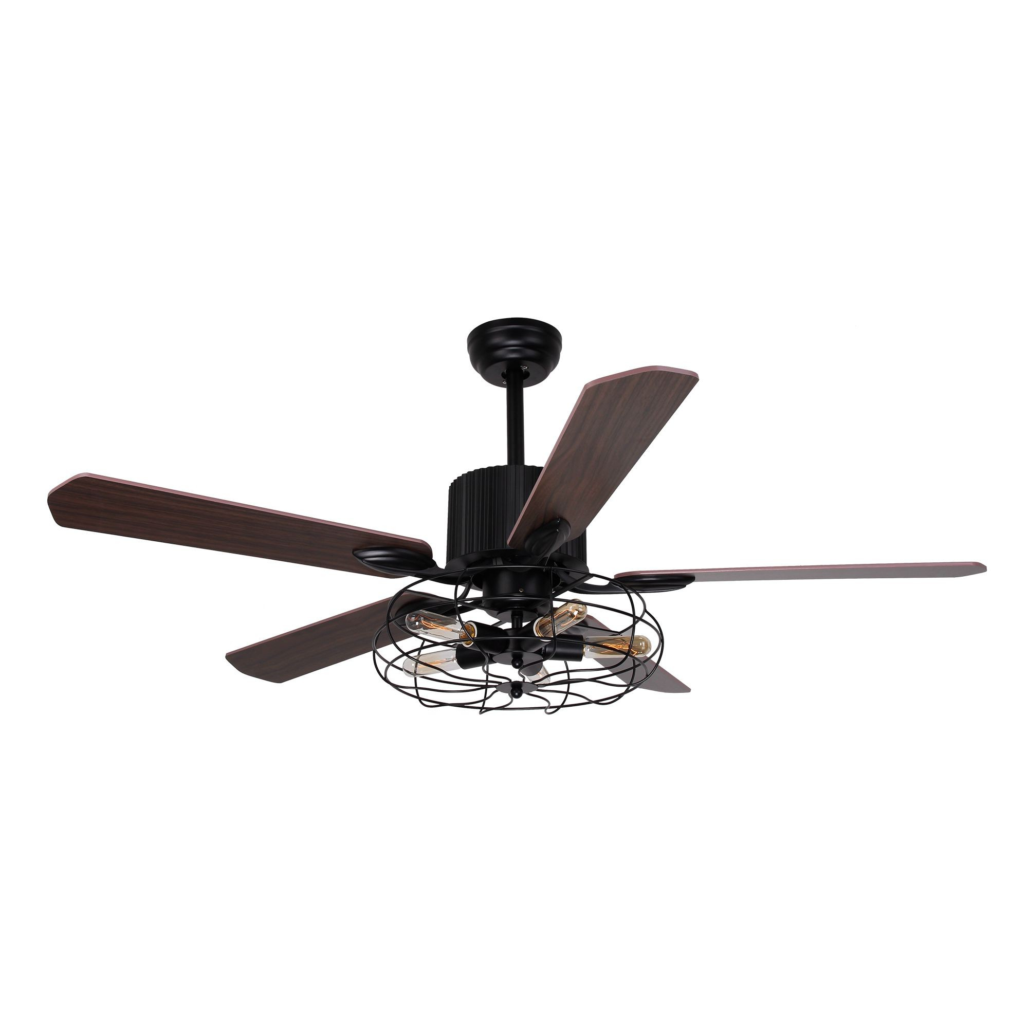 "Famous 52"" Roberts Industrial Caged Chandelier Ceiling Fan With Light And Remote Control, 5 Blades, Black With Regard To Roberts 5 Blade Ceiling Fans (View 3 of 20)"