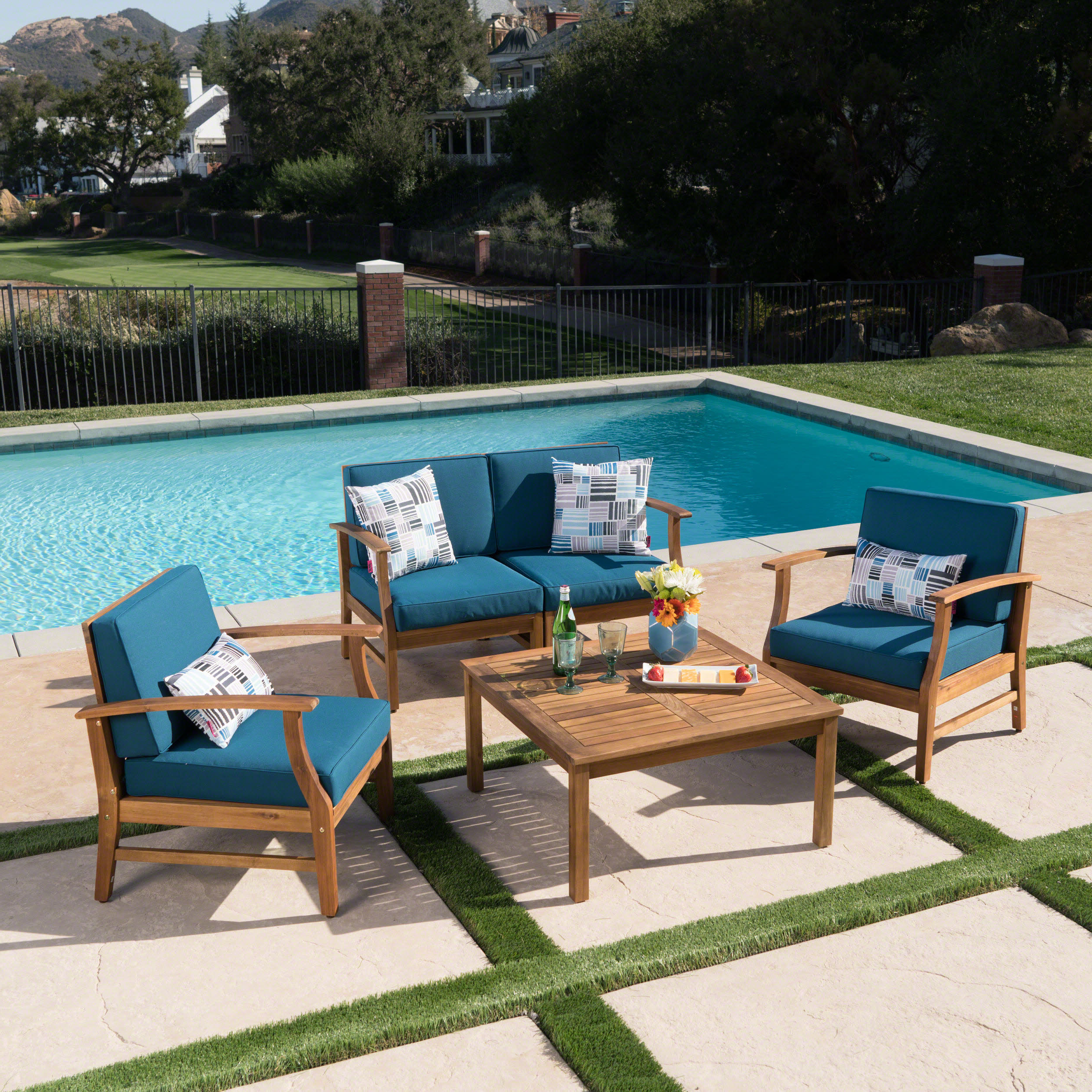 Famous Antonia Teak Patio Sectionals With Cushions With Regard To Antonia 4 Piece Sofa Set With Cushions (View 13 of 25)
