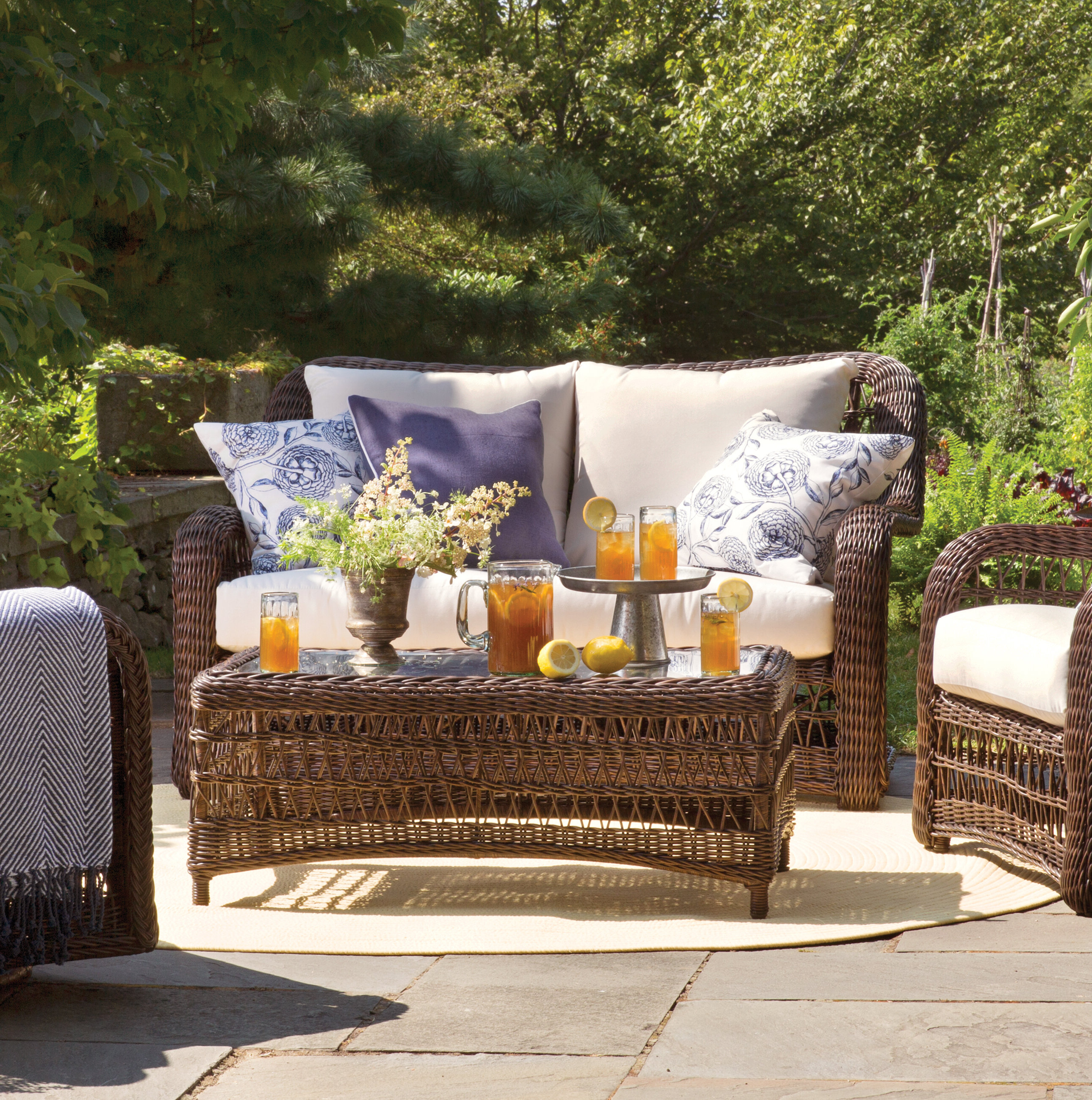 Famous Avadi Outdoor Sofas & Ottomans 3 Piece Set In Elyse Patio Loveseat With Sunbrella Cushions (View 10 of 25)