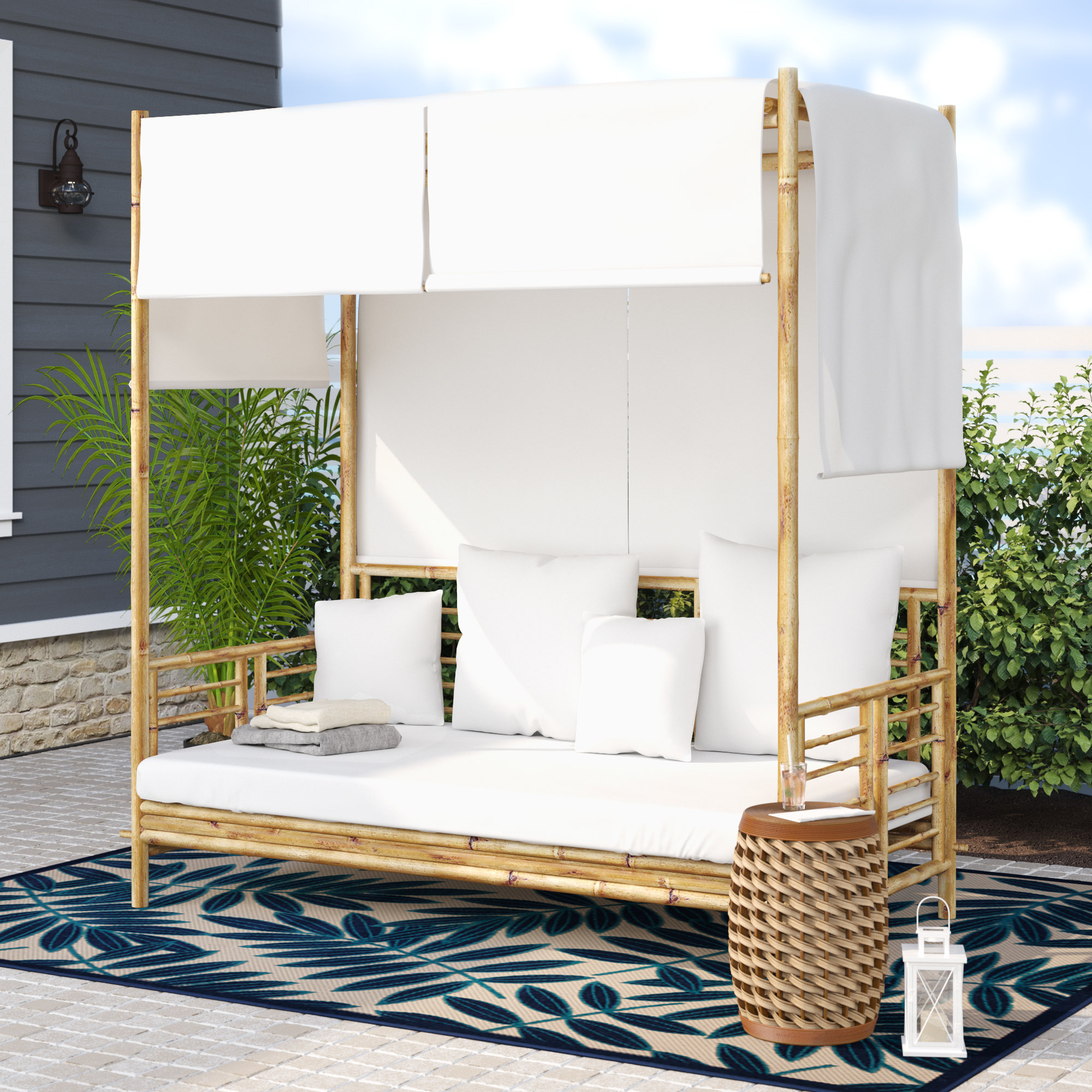 Famous Bamboo Daybed With Canopy – Robotena In Olu Bamboo Large Round Patio Daybeds With Cushions (View 10 of 20)