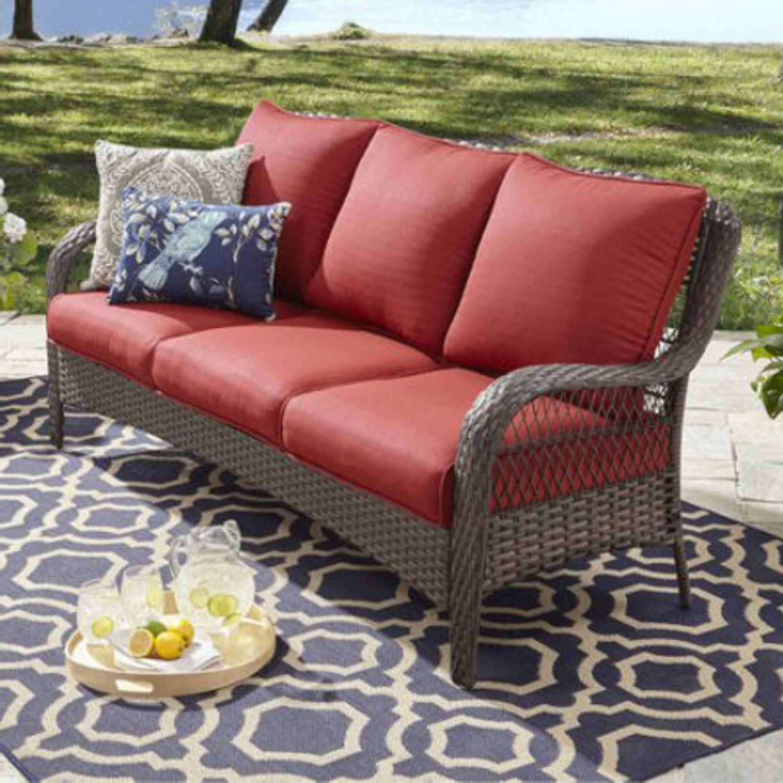 Famous Better Homes & Gardens Colebrook Outdoor Sofa Red (View 13 of 20)