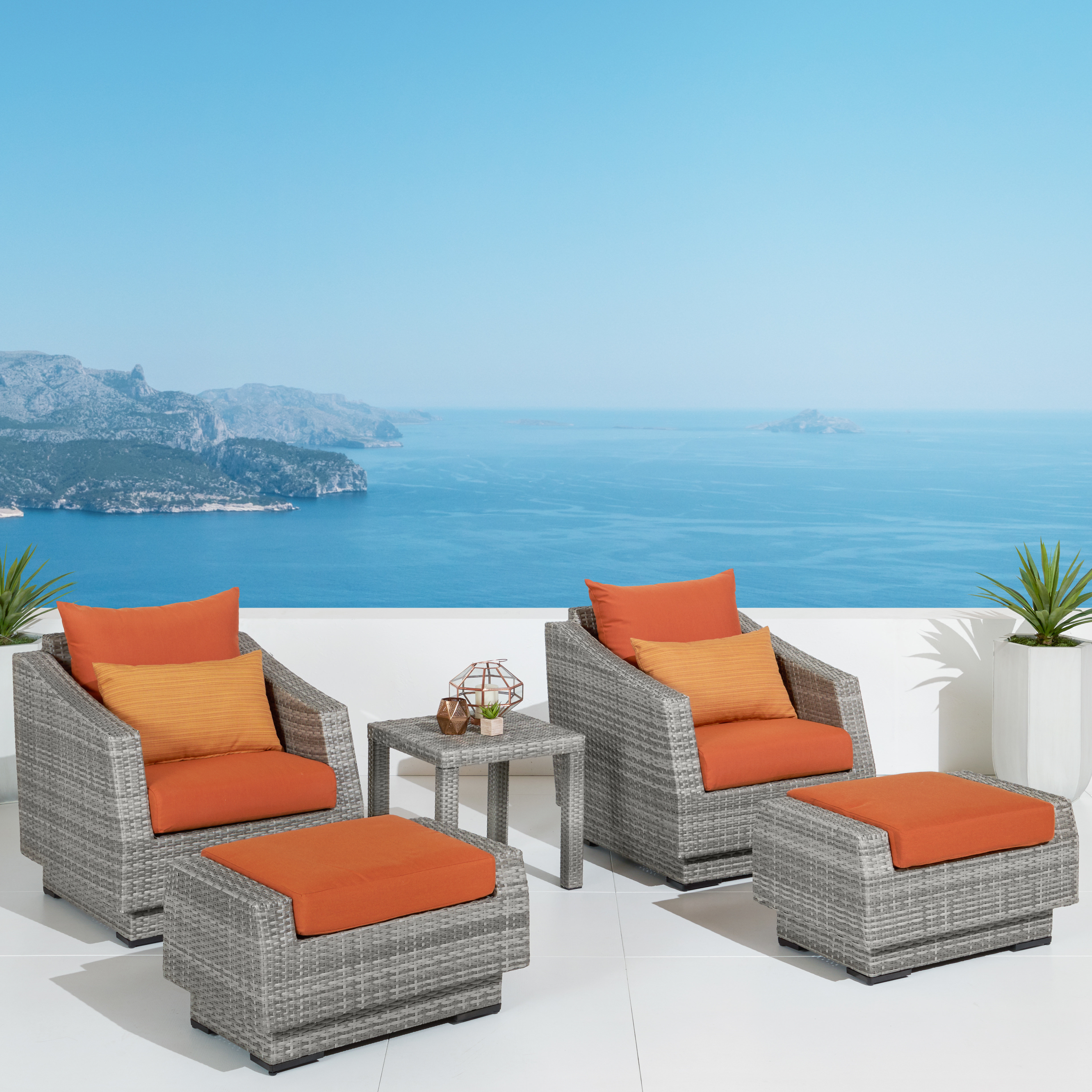 Famous Castelli 5 Piece Rattan Conversation Set With Cushions Intended For Castelli Patio Sofas With Sunbrella Cushions (View 13 of 20)