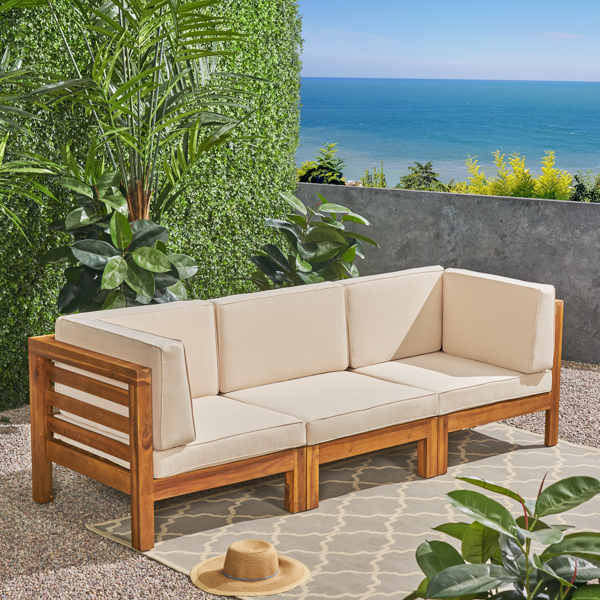 Famous Hursey Patio Sofas In Brayden Studio Seaham Teak Patio Sofa With Cushions (View 12 of 20)