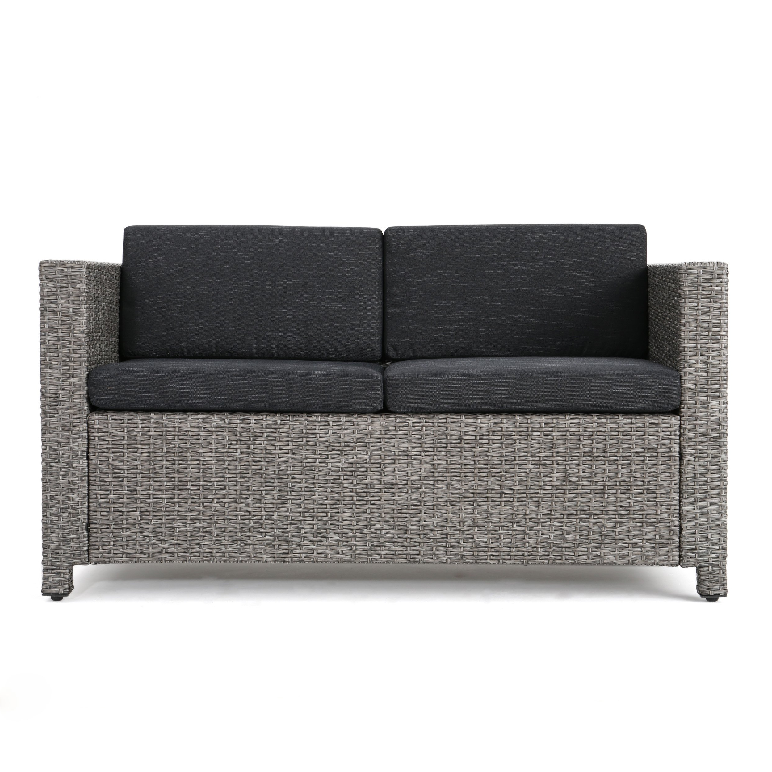 Famous Lorelei Outdoor Wicker Loveseat With Water Resistant Regarding Clifford Loveseats With Cushion (View 10 of 20)