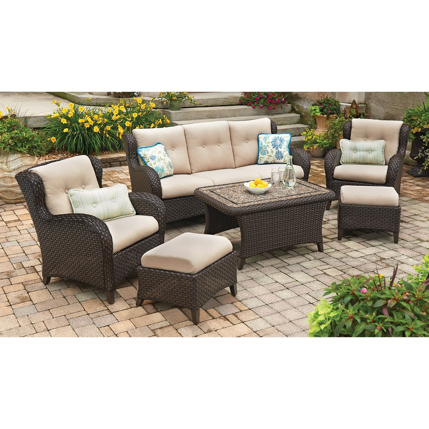 Famous Member's Mark® Heritage 6 Piece Deep Seating Set With Within Avadi Outdoor Sofas & Ottomans 3 Piece Set (View 15 of 25)