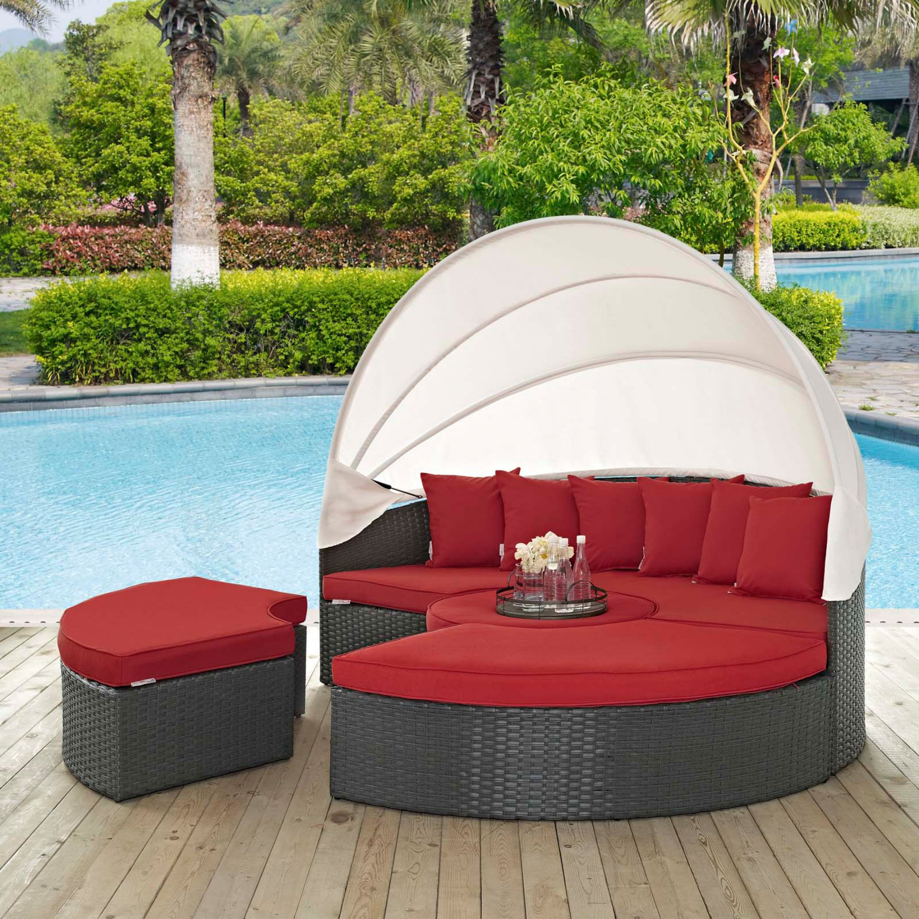 Famous Modway Sojourn Wicker Patio Daybed With Canopy With With Regard To Hatley Patio Daybeds With Cushions (View 3 of 20)