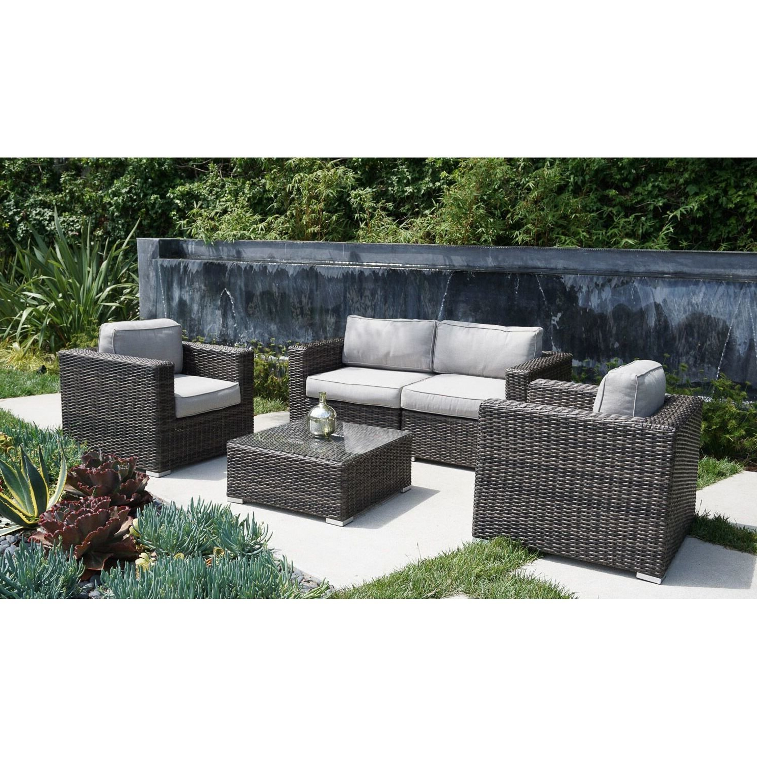 Famous Nolen 5 Piece Rattan Sectional Set With Cushions For Nolen Patio Sectionals With Cushions (View 2 of 20)