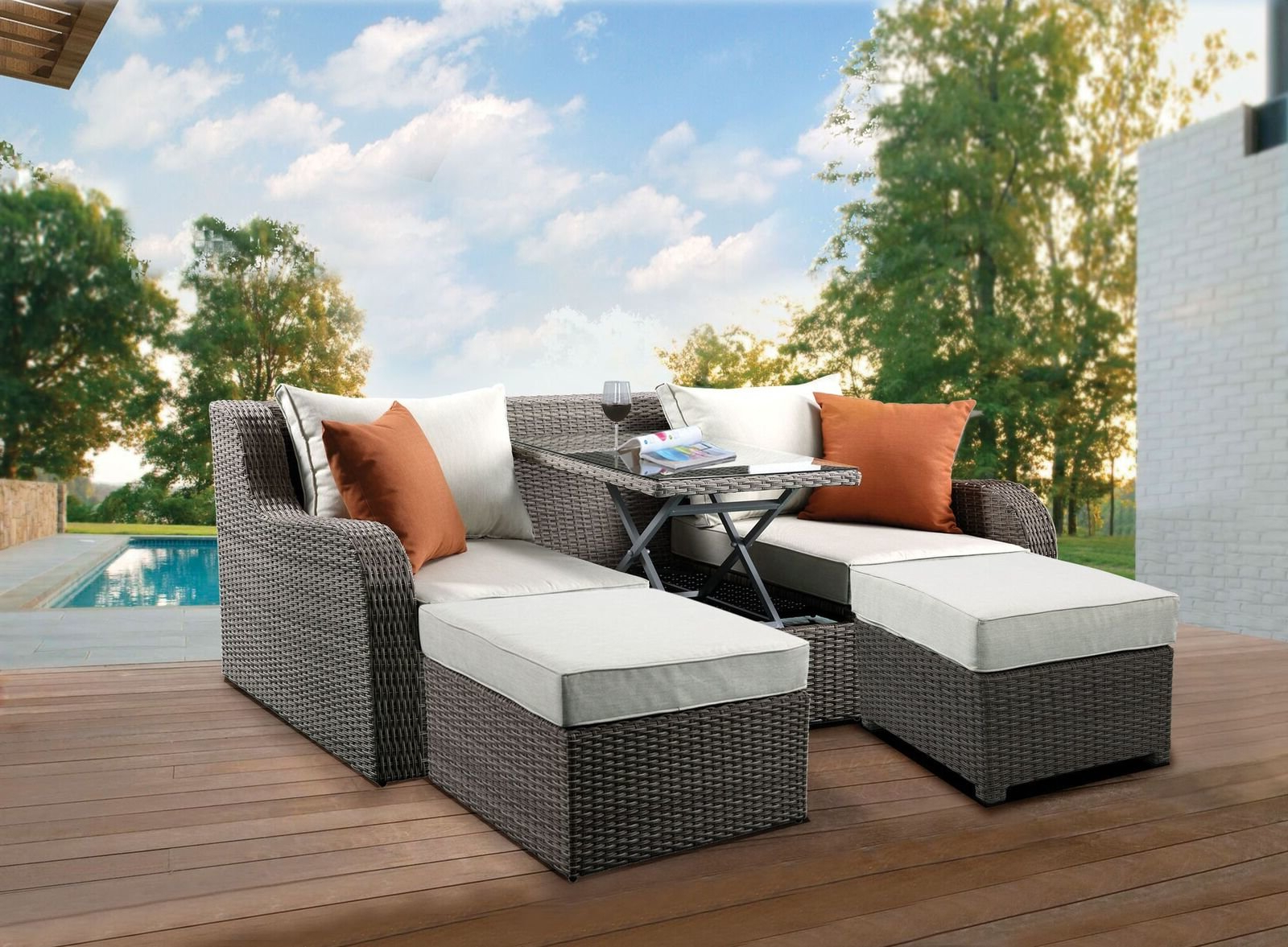 Famous Platt Patio Sofa With Cushions Within Keiran Patio Sofas With Cushions (View 8 of 20)