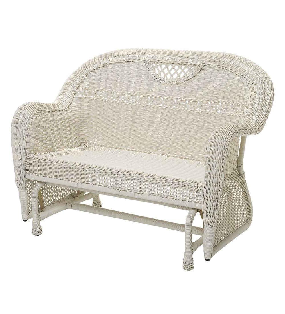 Famous Prospect Hill Wicker Settee Benches Regarding Prospect Hill Outdoor Wicker Loveseat Glider Cloud White (View 4 of 20)