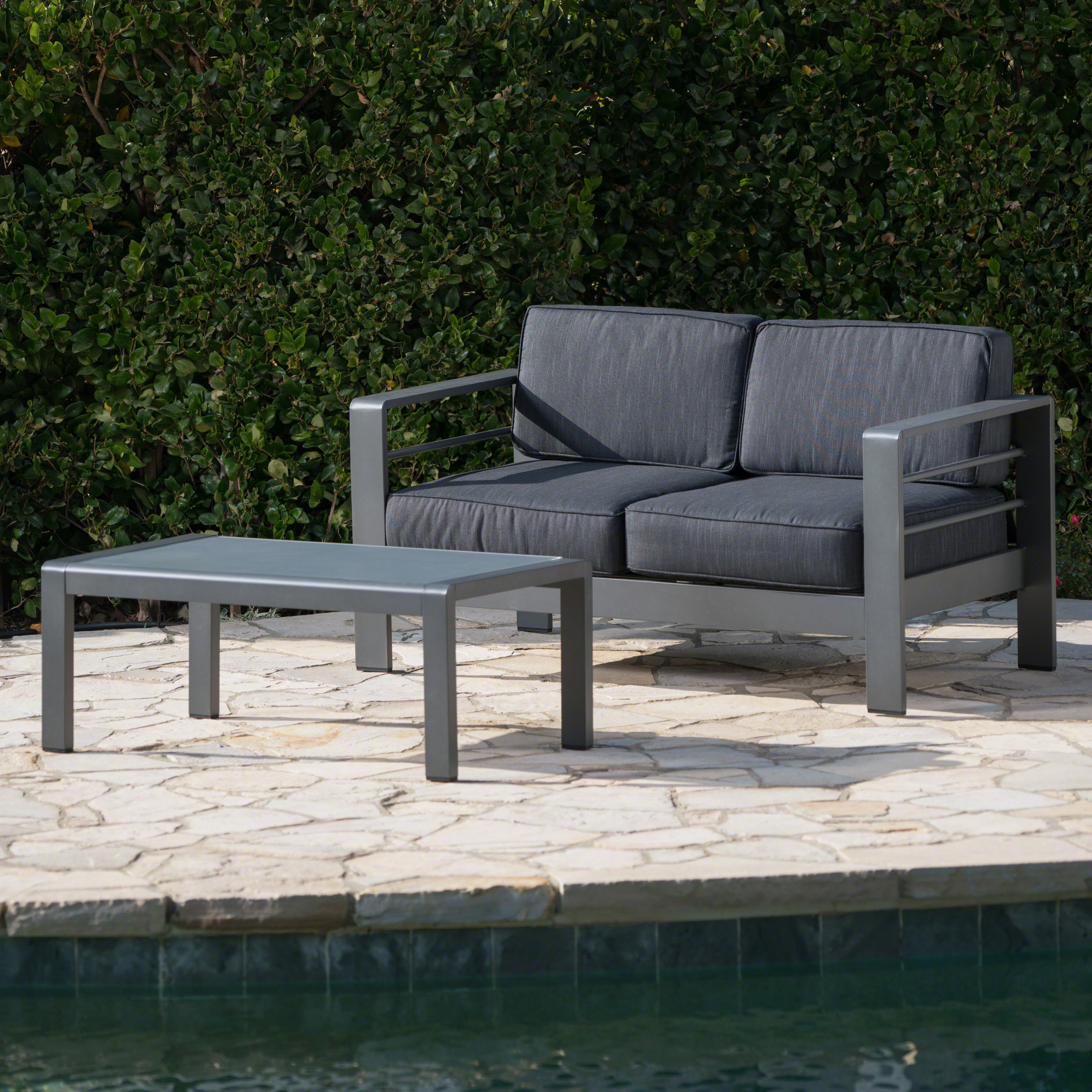 Famous Royalston Patio Sofas With Cushions For Royalston 2 Piece Sofa Set With Cushions (View 8 of 20)