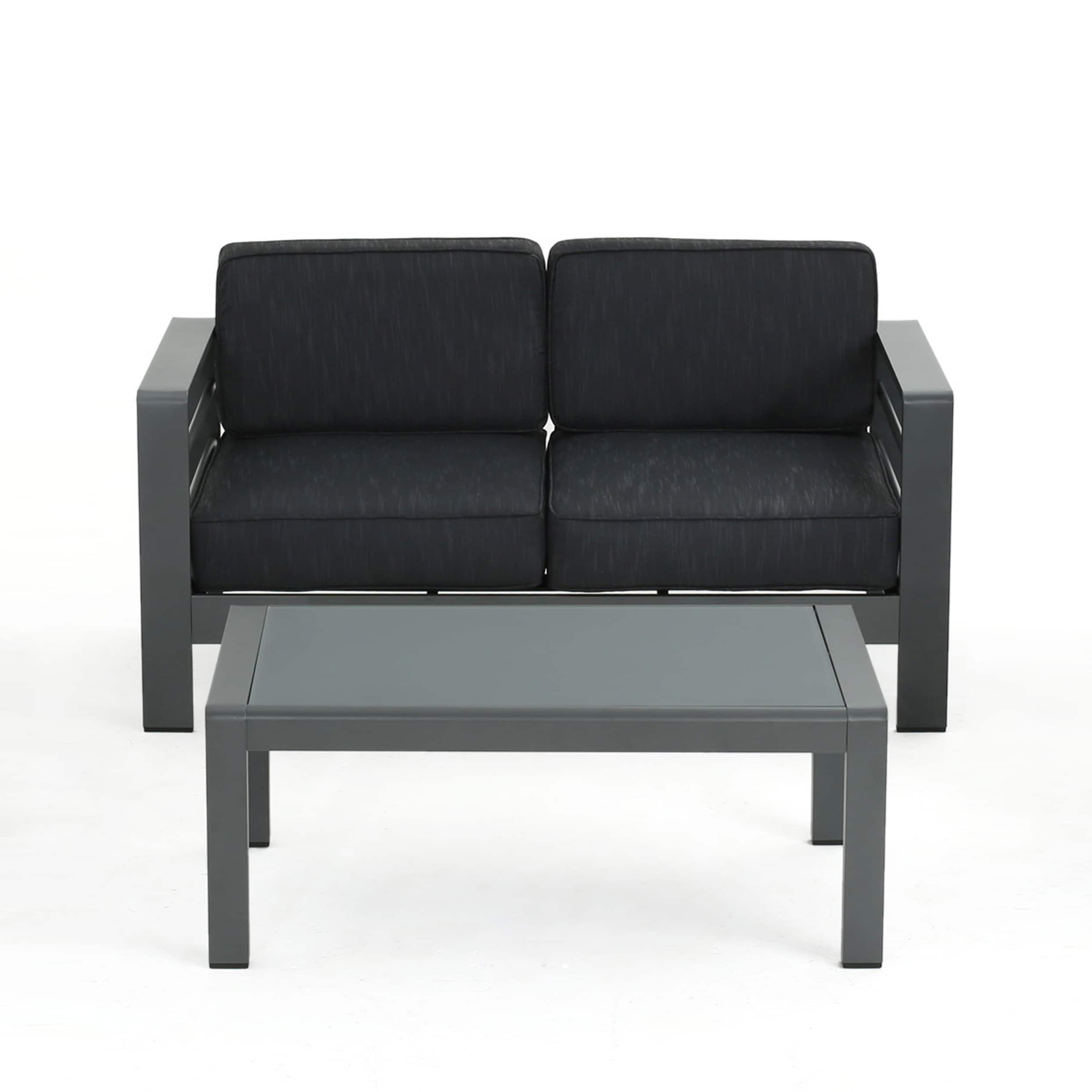 Famous Royalston Patio Sofas With Cushions Regarding Cape Coral Outdoor Aluminum 2 Piece Set With Cushions (View 7 of 20)