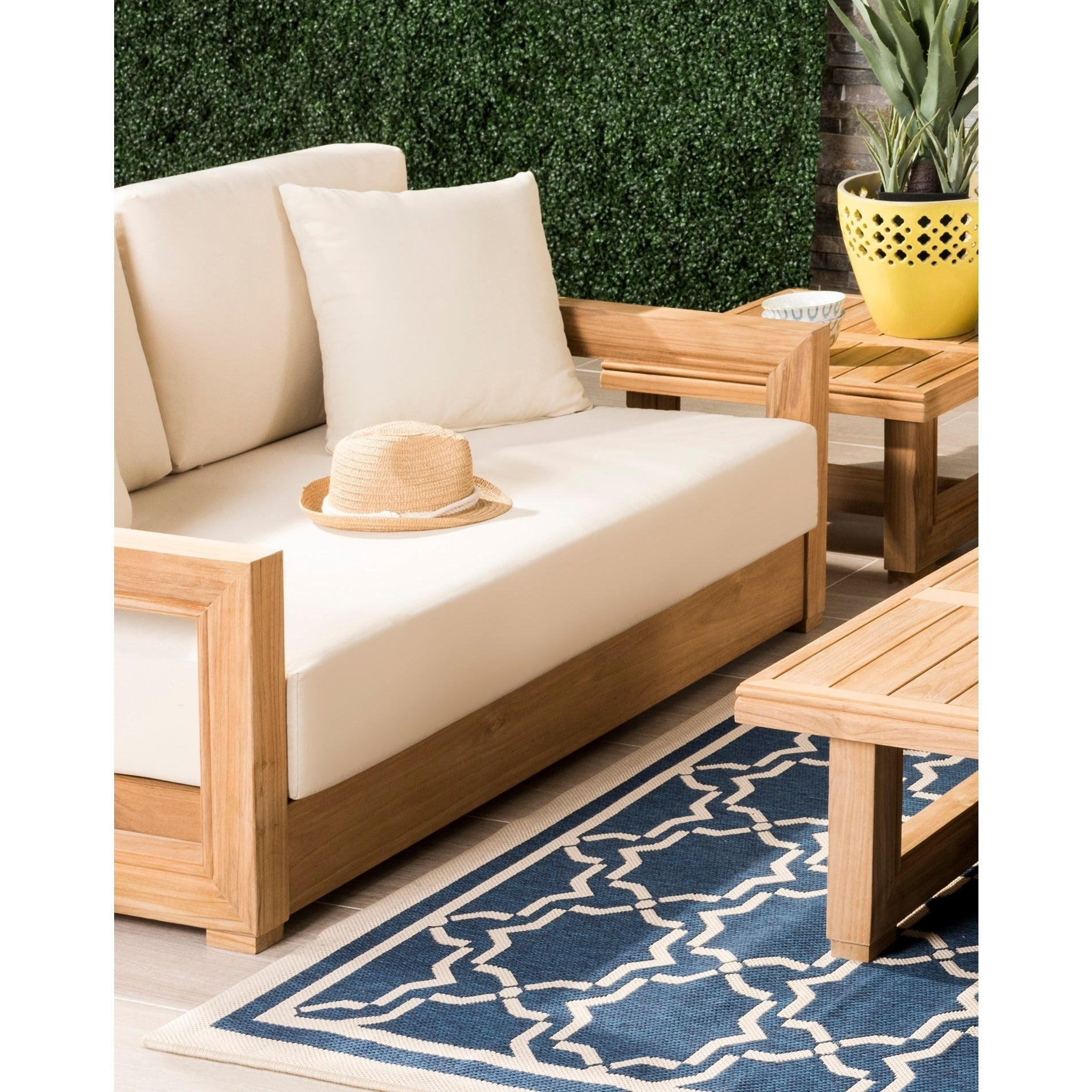 Famous Safavieh Couture Outdoor Montford Teak Brown/ Beige 2 Seat Commercial Grade  Loveseat Pertaining To Montford Teak Patio Sofas With Cushions (View 4 of 20)