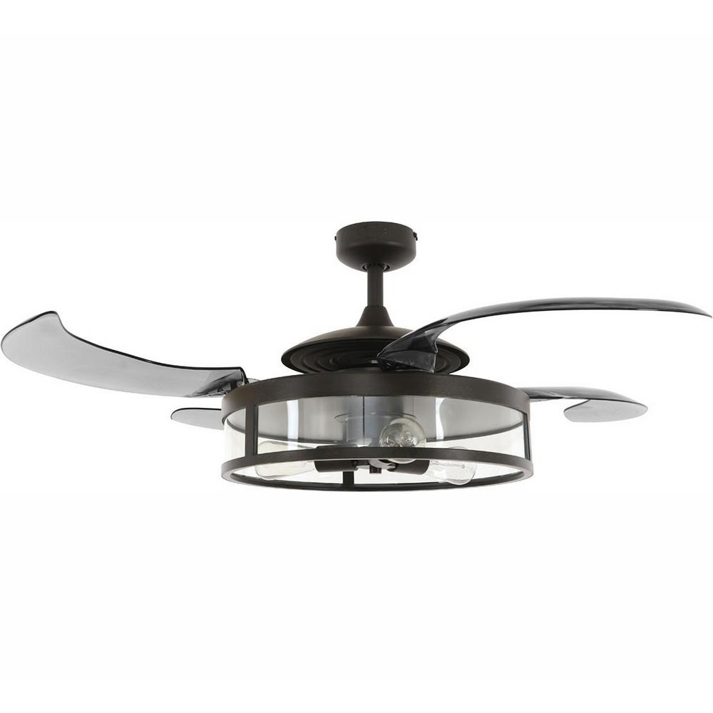 Famous Servantes Retractable 4 Blade Ceiling Fans With Remote Throughout Fanaway Classic Antique Black And Smoke Retractable 4 Blade 48 In (View 8 of 20)