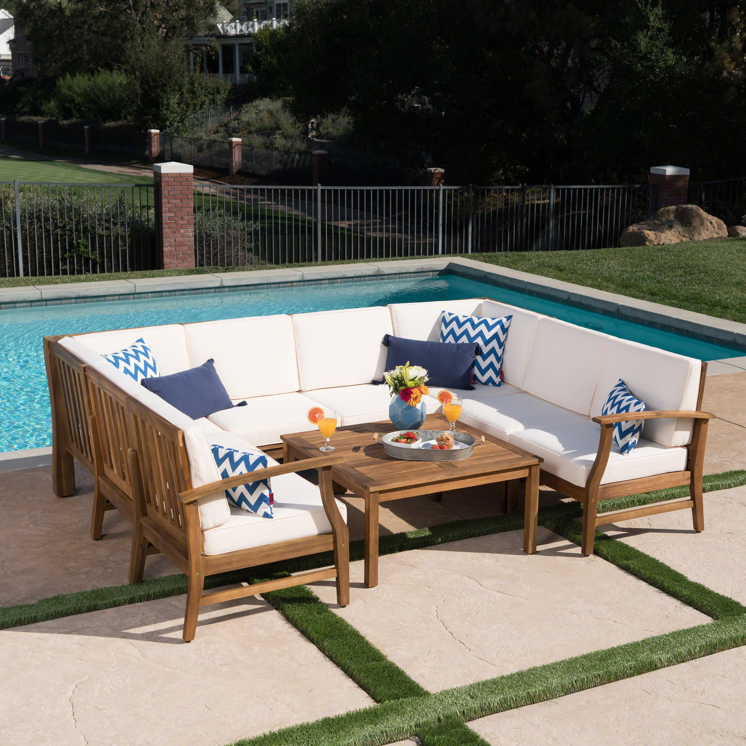 Fashionable Antonia Teak Patio Sectionals With Cushions Throughout Antonia 8 Piece Sectional Set With Cushions (View 9 of 25)