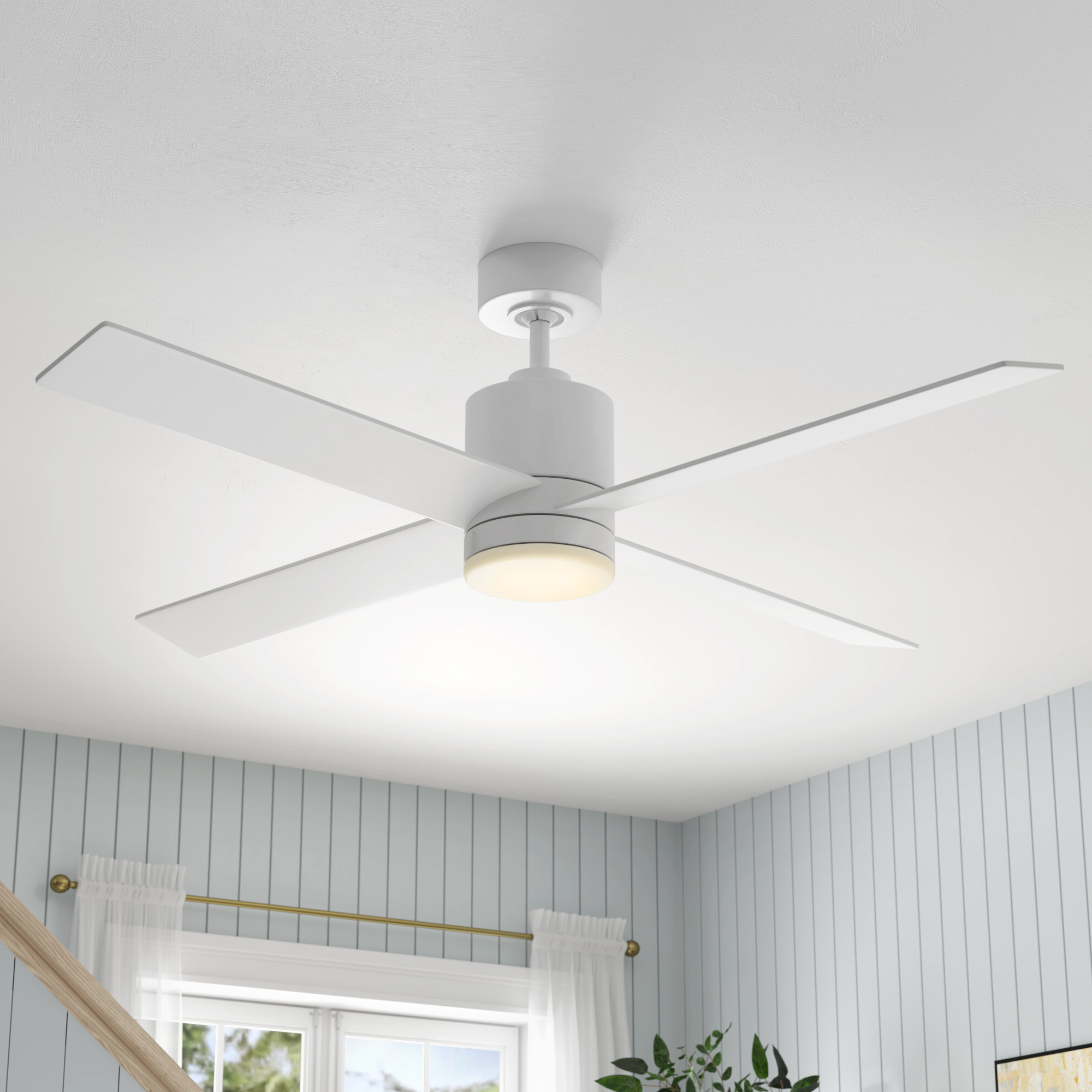 """Fashionable Dempsey Low Profile 4 Blade Ceiling Fans With Remote Inside 52"""" Rinke 4 Blade Ceiling Fan With Remote, Light Kit Included (View 13 of 20)"""