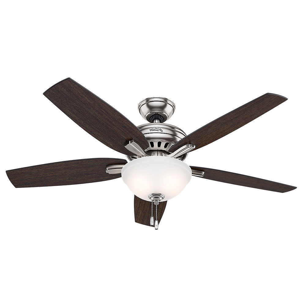 """Fashionable Details About Hunter Newsome 52 Bowl 52"""" Indoor Ceiling Fan – 5 Reversible Blades And Light For Newsome 5 Blade Ceiling Fans (View 15 of 20)"""