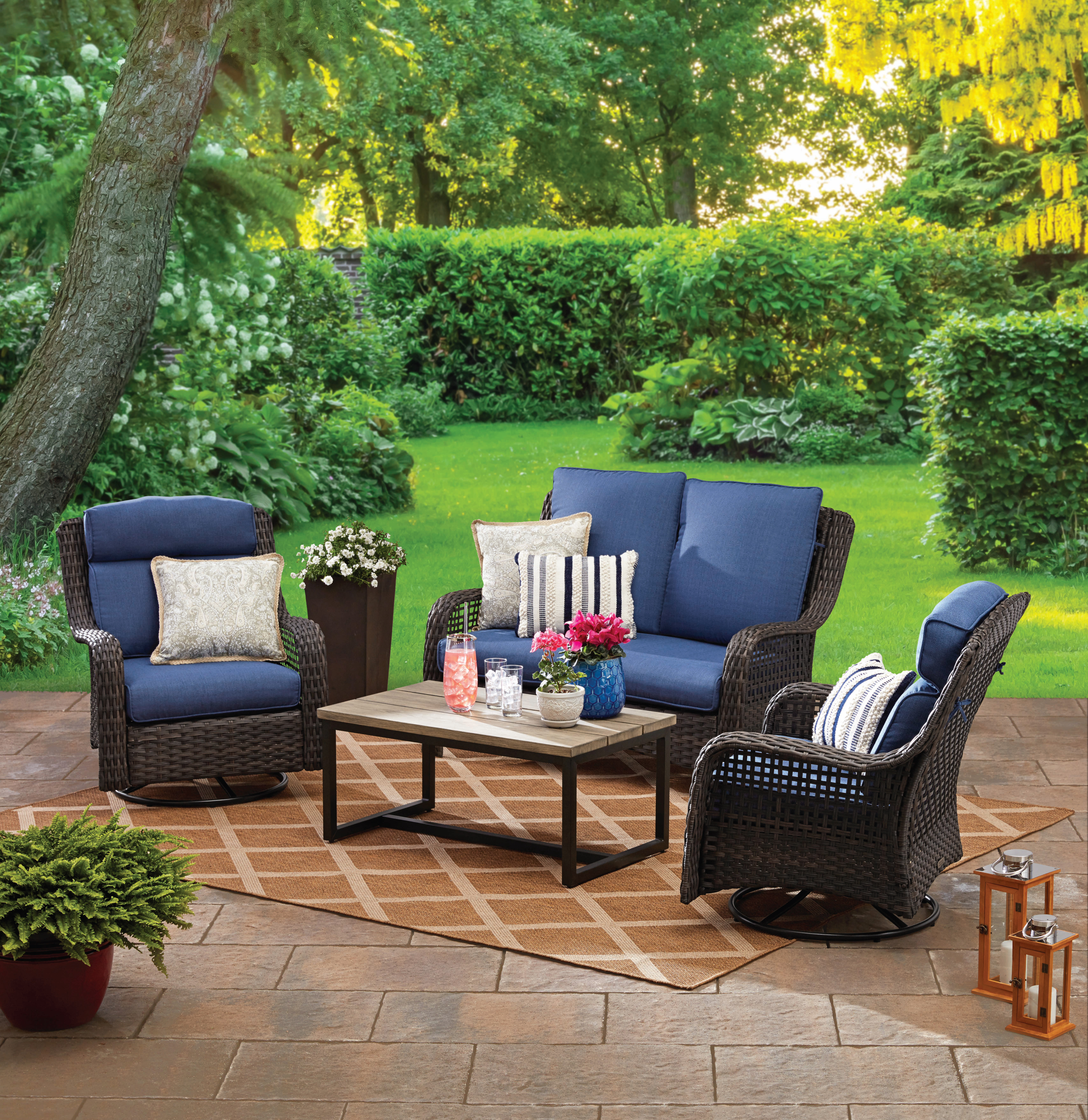 Fashionable Greta Living Patio Sectionals With Cushions Throughout Better Homes & Gardens Ravenbrooke 4 Piece Patio (View 7 of 20)