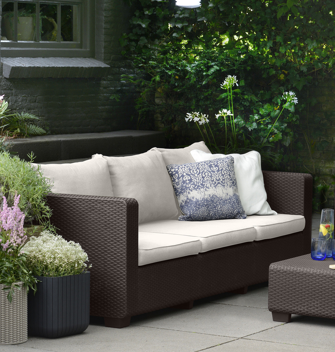 Fashionable Halloran Patio Sofa With Sunbrella Cushions Throughout Rowley Patio Sofas Set With Cushions (View 2 of 20)