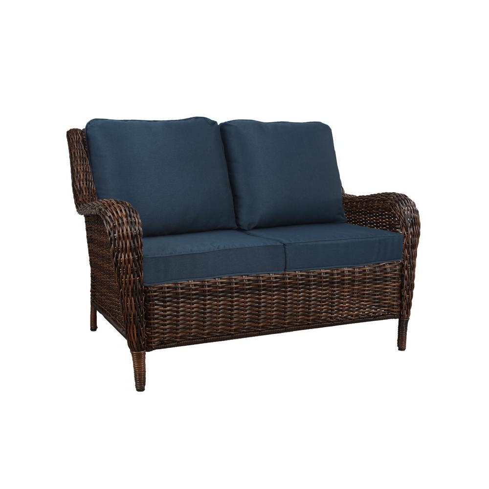 Fashionable Hampton Bay Cambridge Brown Wicker Outdoor Patio Loveseat With Standard  Midnight Navy Blue Cushions Pertaining To Wicker Loveseats (View 3 of 20)