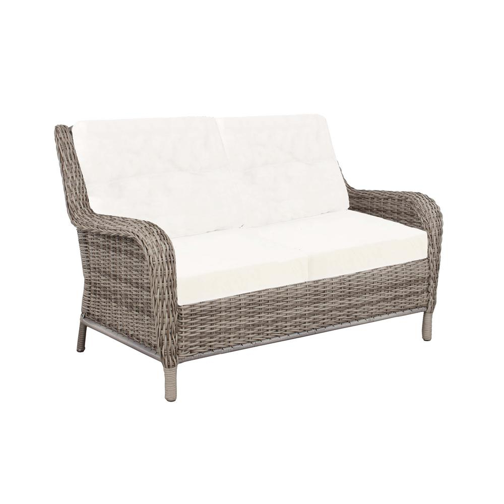 Fashionable Hampton Bay Cambridge Grey Wicker Outdoor Loveseat With Bare With Regard To Keever Patio Sofas With Sunbrella Cushions (View 20 of 20)