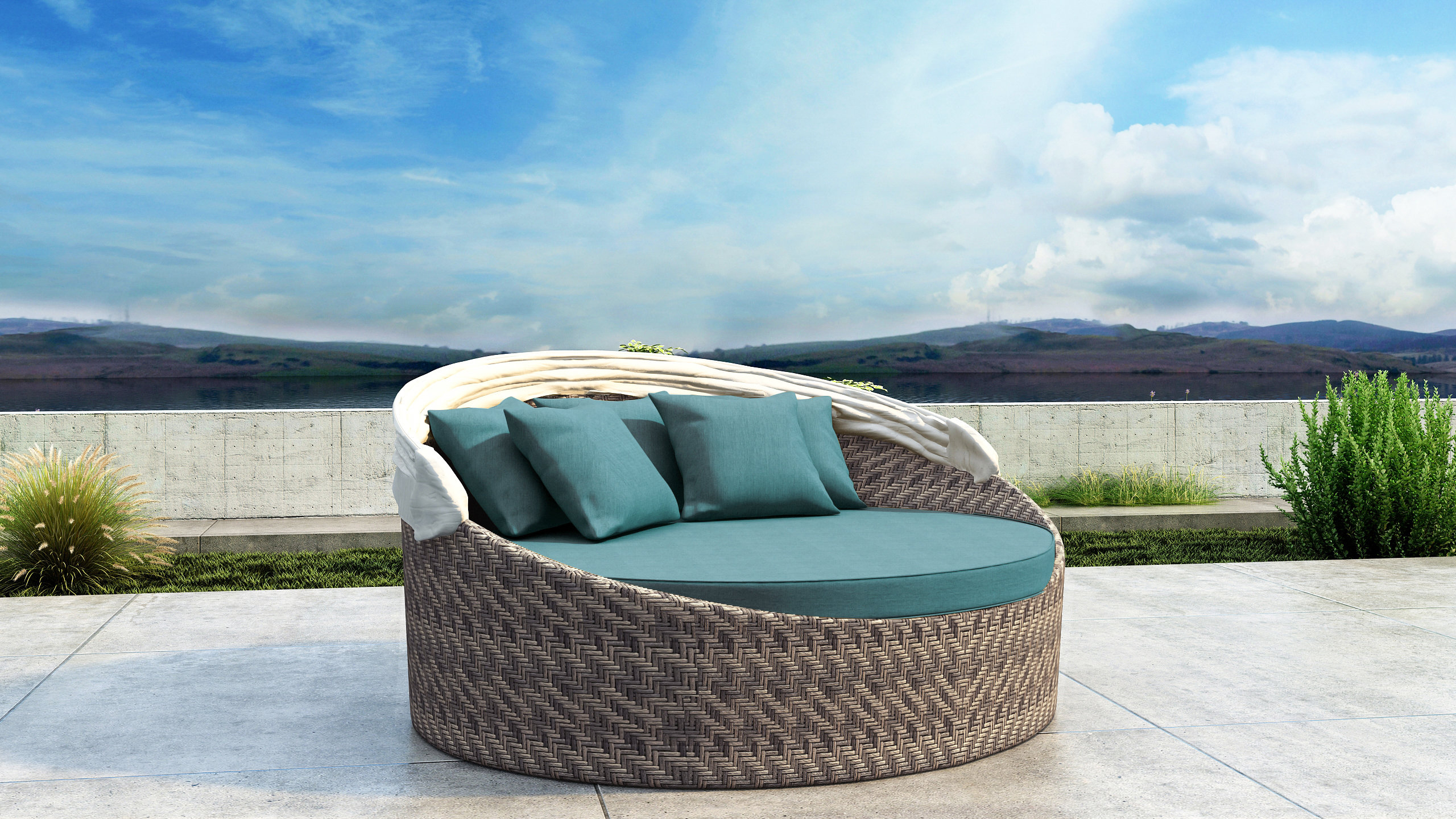 Fashionable Harlow Patio Daybeds With Cushions Pertaining To Gillham Patio Daybed With Sunbrella Cushion (View 6 of 20)
