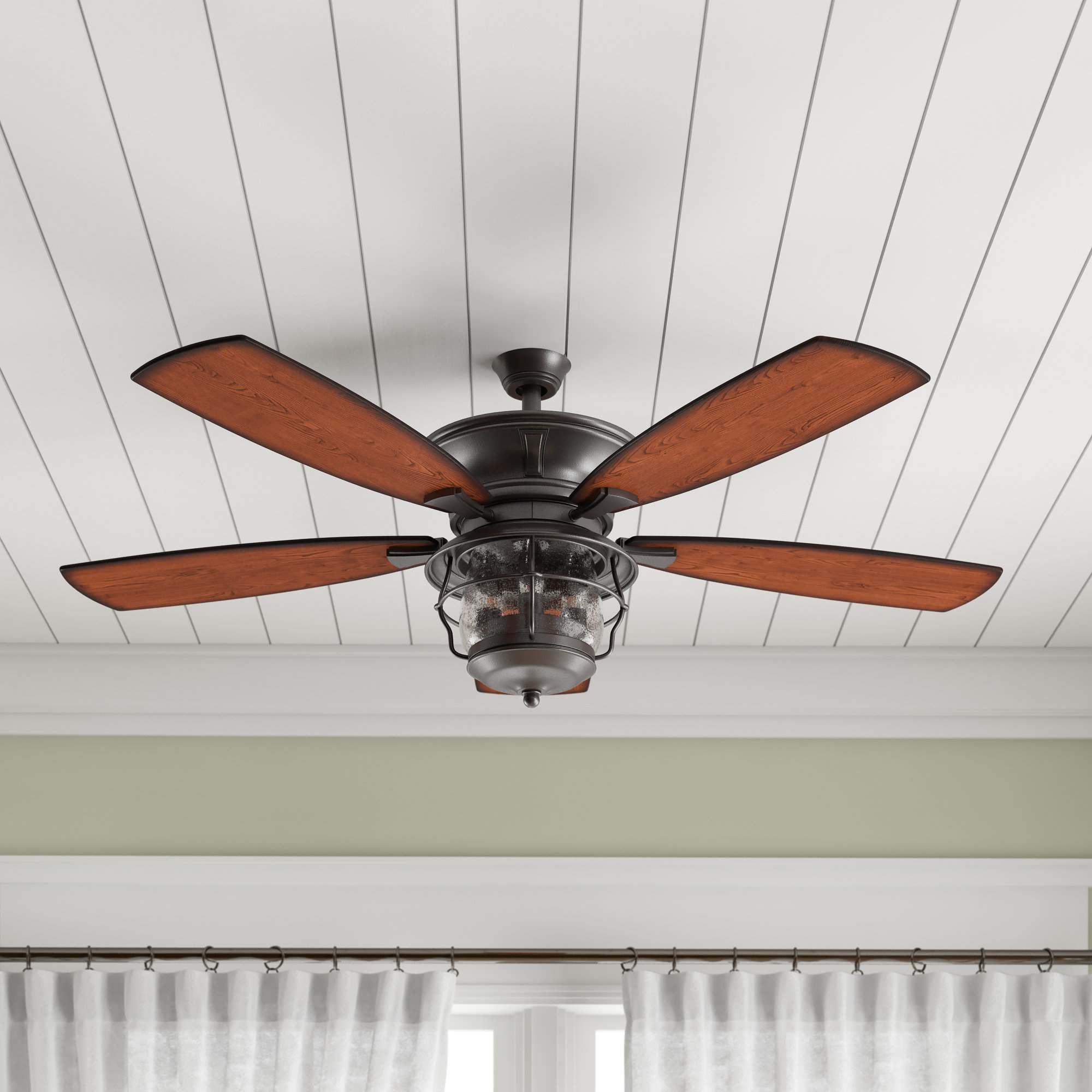 "Fashionable Key Biscayne 5 Blade Outdoor Ceiling Fans For 52"" Quebec 5 Blade Outdoor Ceiling Fan, Light Kit Included (View 20 of 20)"