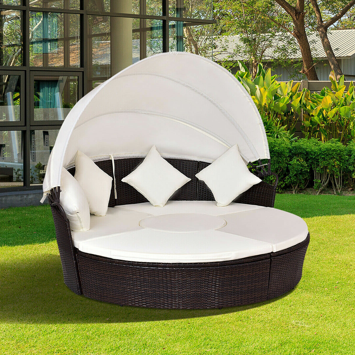 Fashionable Leiston Round Patio Daybeds With Cushions In Sharleen Patio Daybed With Cushions (View 10 of 20)