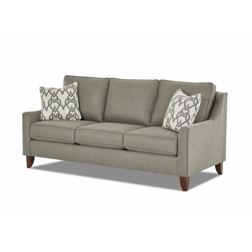 Fashionable Made To Order Belton Sofa In Lysander Steel W/ Pillows In Tikal Smoke For Belton Patio Sofas With Cushions (View 9 of 25)