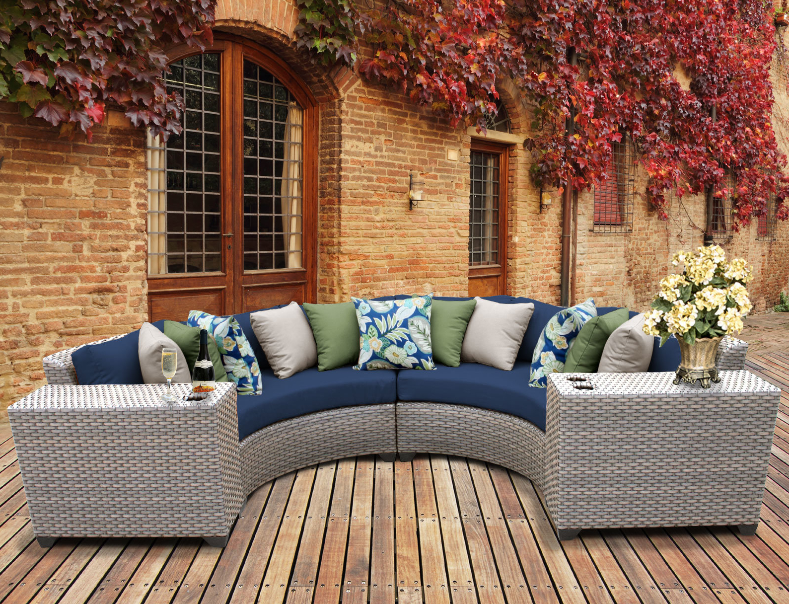 Fashionable Meeks Patio Sofas With Cushions Throughout Meeks 4 Piece Sectional Seating Group With Cushions (View 8 of 20)