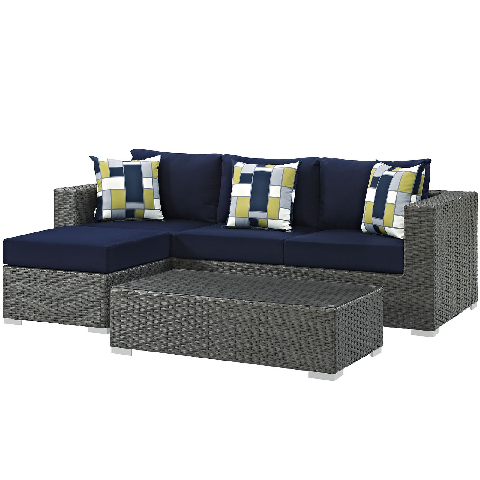 Fashionable Modway Furniture Modern Sojourn 3 Piece Outdoor Patio With Regard To Castelli Loveseats With Cushions (View 9 of 20)