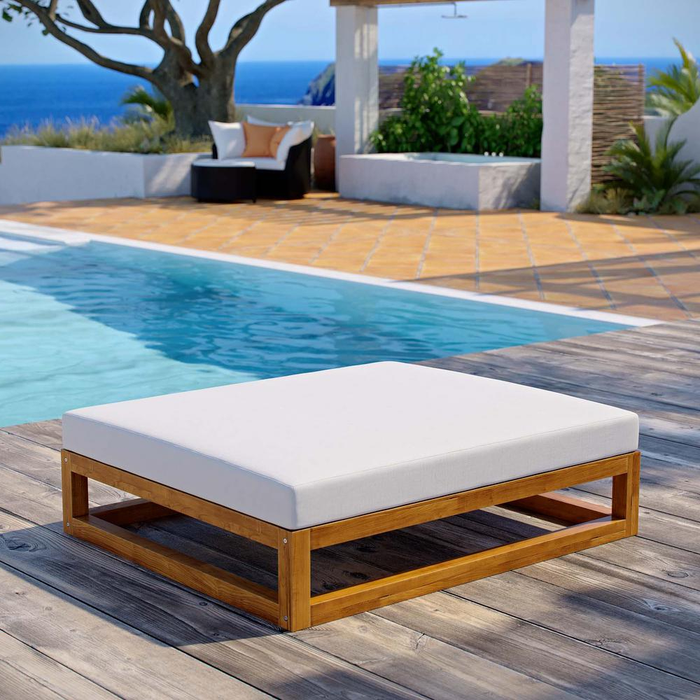 Fashionable Modway Newbury Natural Grade A Teak Wood Outdoor Ottoman With White Cushions Throughout Newbury Patio Sofas With Cushions (View 4 of 20)