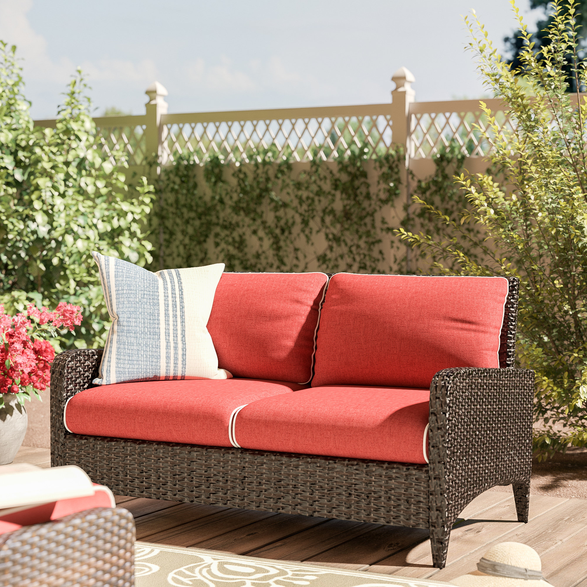 Fashionable Mosca Patio Loveseat With Cushions With Regard To Falmouth Loveseats With Cushions (View 6 of 20)