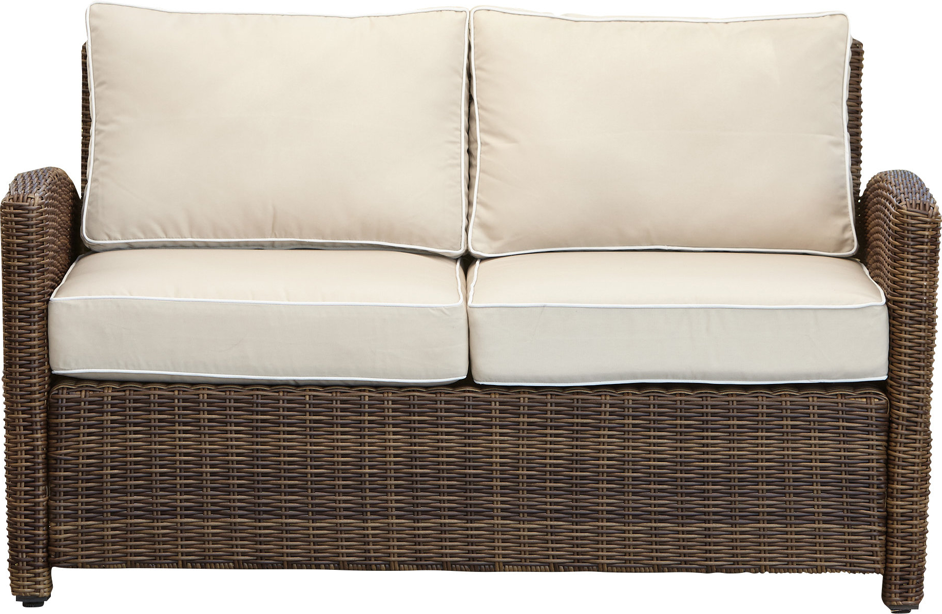 Fashionable Mosca Patio Loveseats With Cushions Throughout Lawson Wicker Loveseat With Cushions (View 14 of 20)