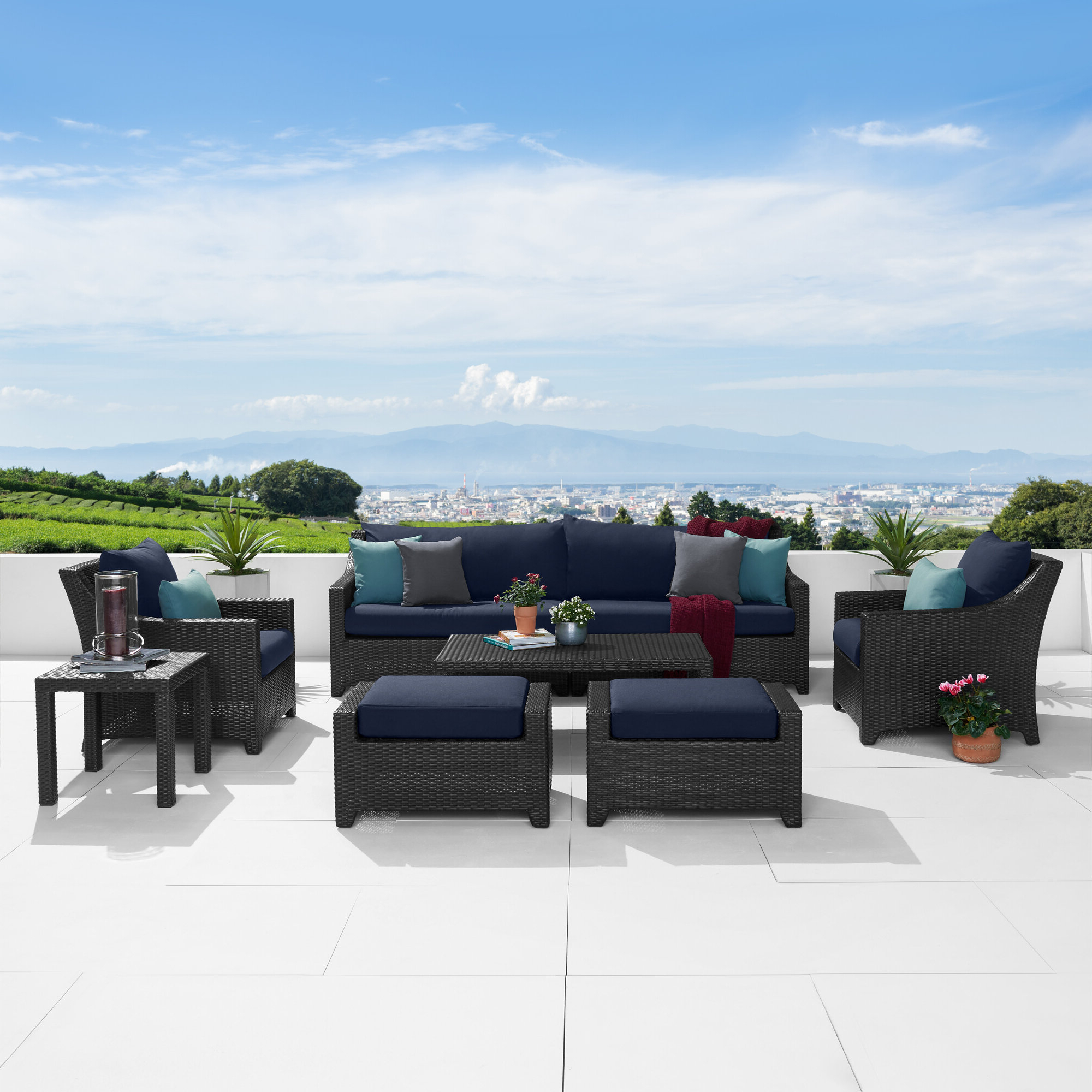 Fashionable Northridge 8 Piece Sofa Seating Group With Sunbrella Cushions With Regard To Northridge Patio Sofas With Sunbrella Cushions (View 4 of 20)