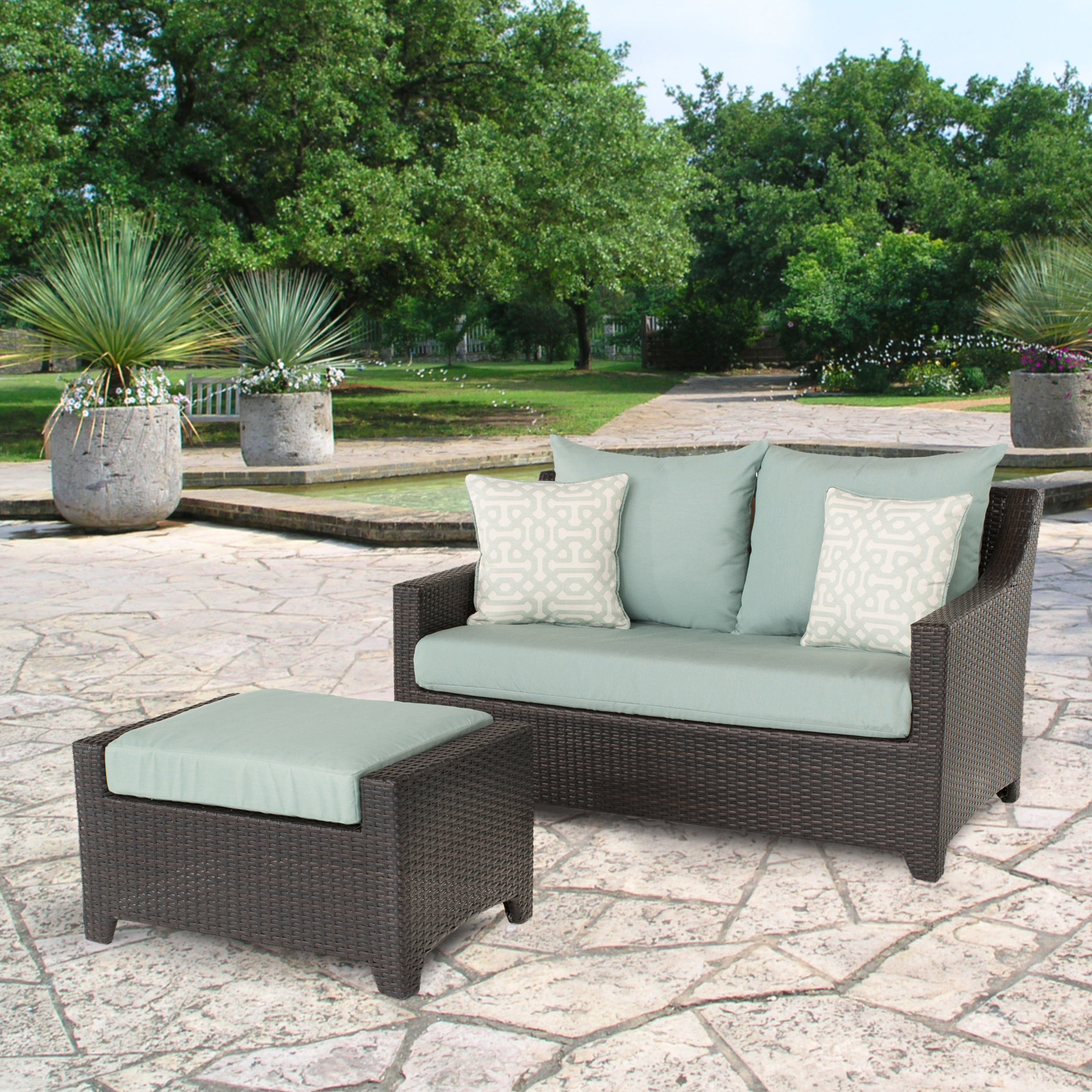 Fashionable Northridge Loveseat With Cushions With Regard To Avadi Outdoor Sofas & Ottomans 3 Piece Set (View 16 of 25)